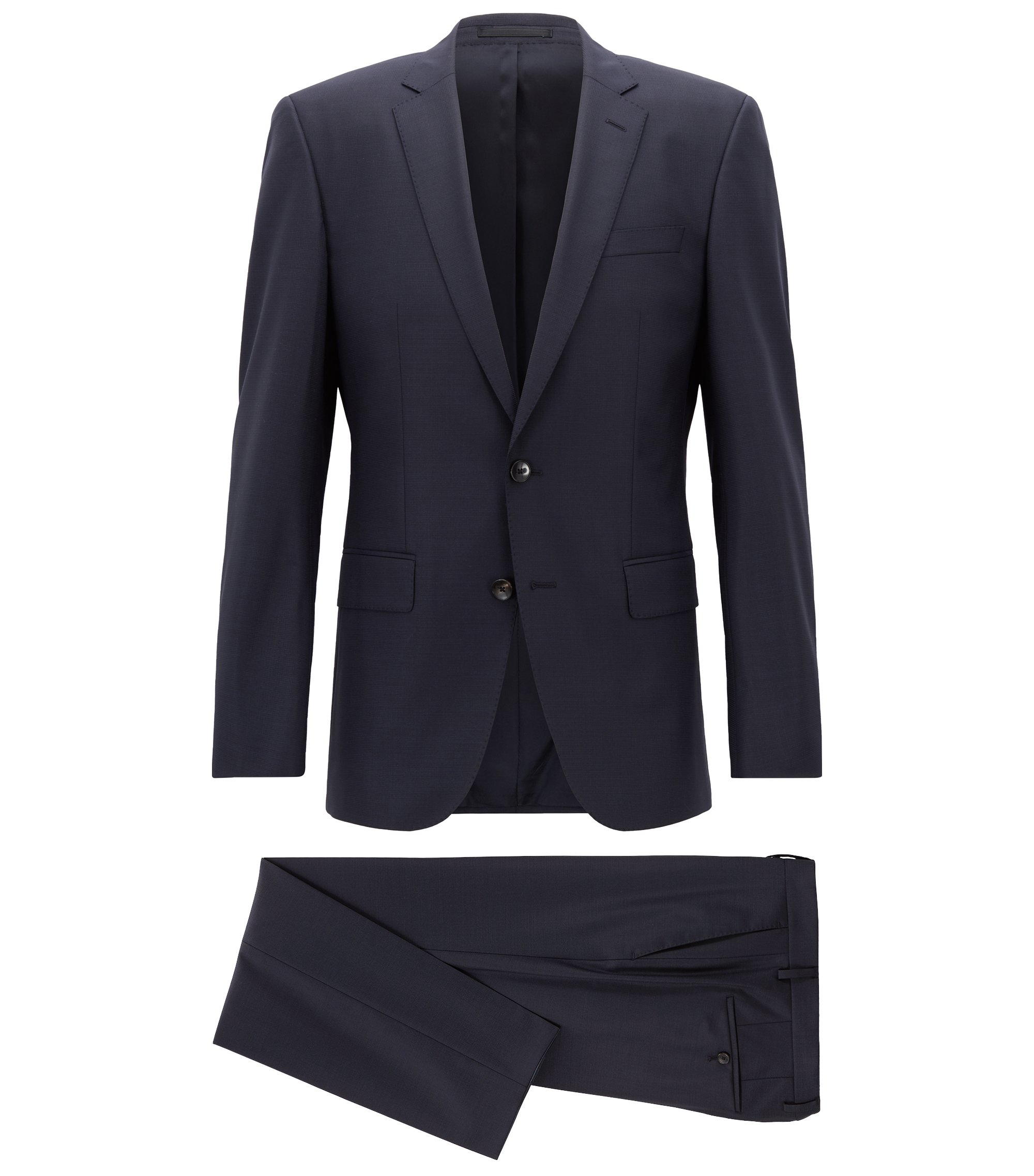 Slim-fit kostuum van een scheerwolmix met stretch, Donkerblauw