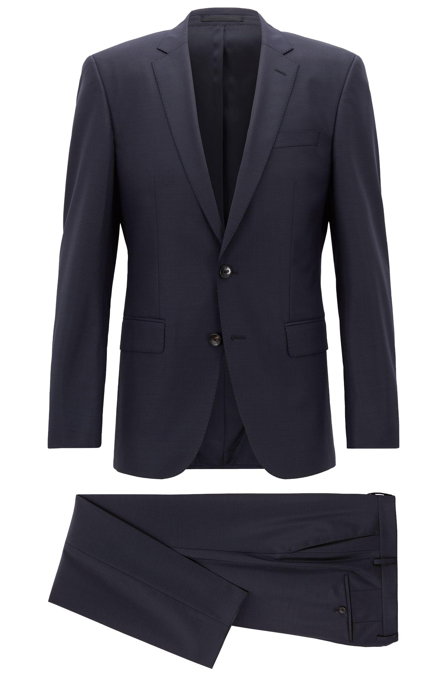Slim-Fit Anzug aus elastischem Schurwoll-Mix, Dunkelblau