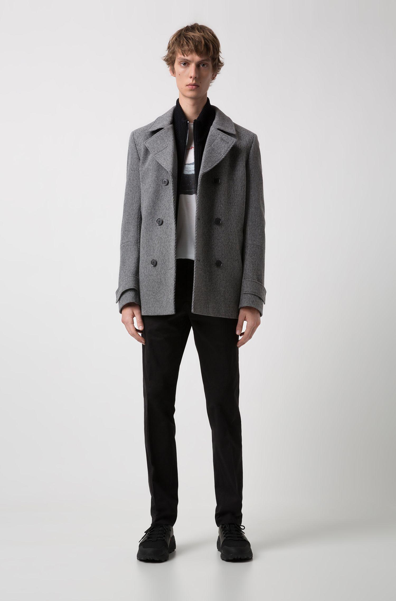Slim-Fit Jacke aus strukturiertem Woll-Mix, Grau