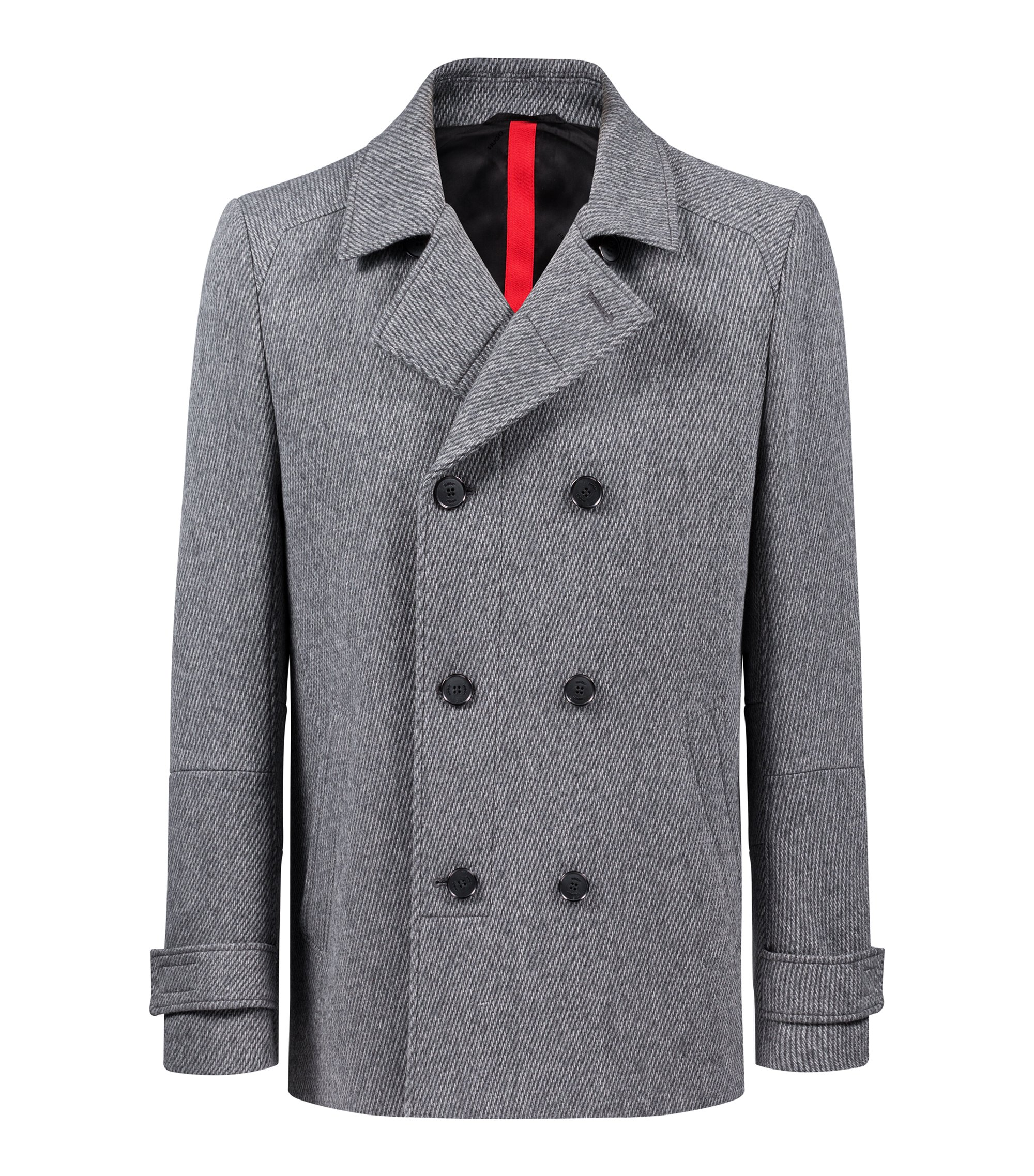 Slim-fit jacket in a structured wool blend, Grey