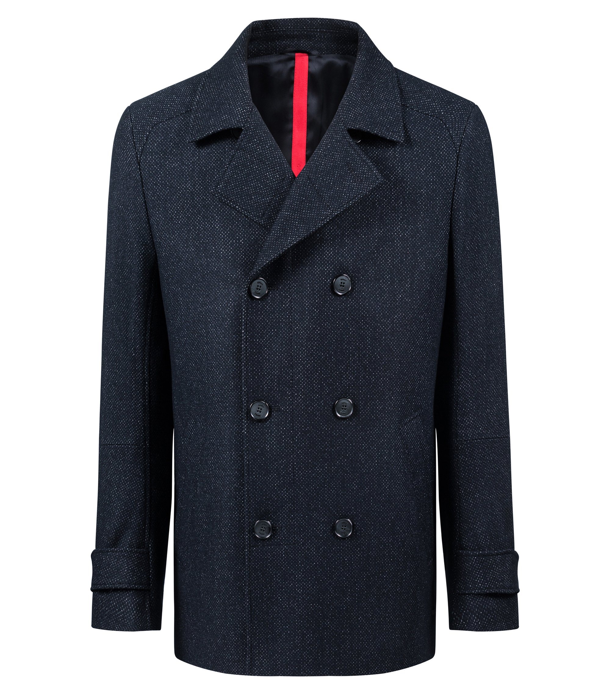Slim-fit jacket in a micro-patterned wool blend, Dark Blue