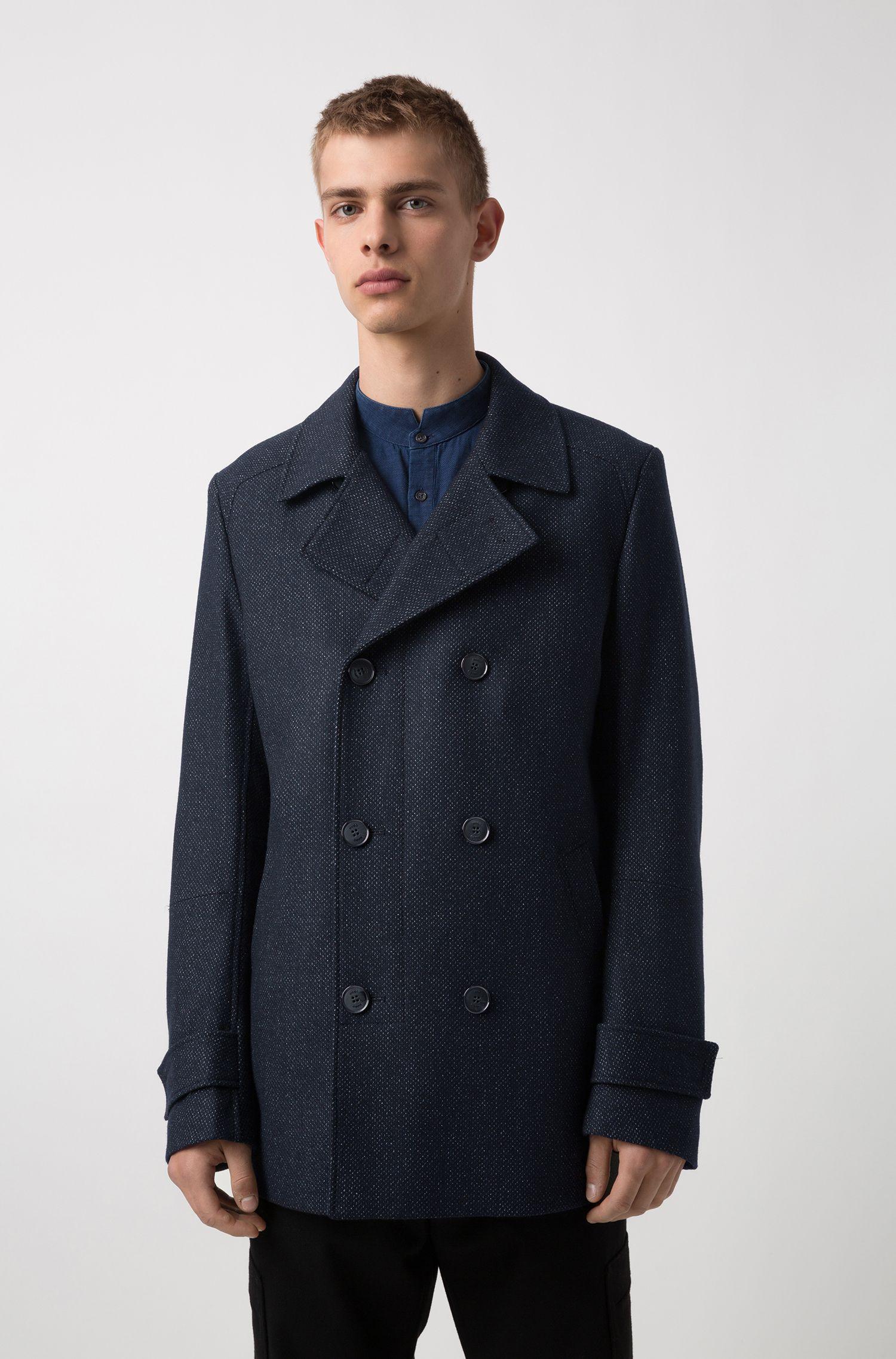 Slim-fit jacket in a micro-patterned wool blend, Dark Blue