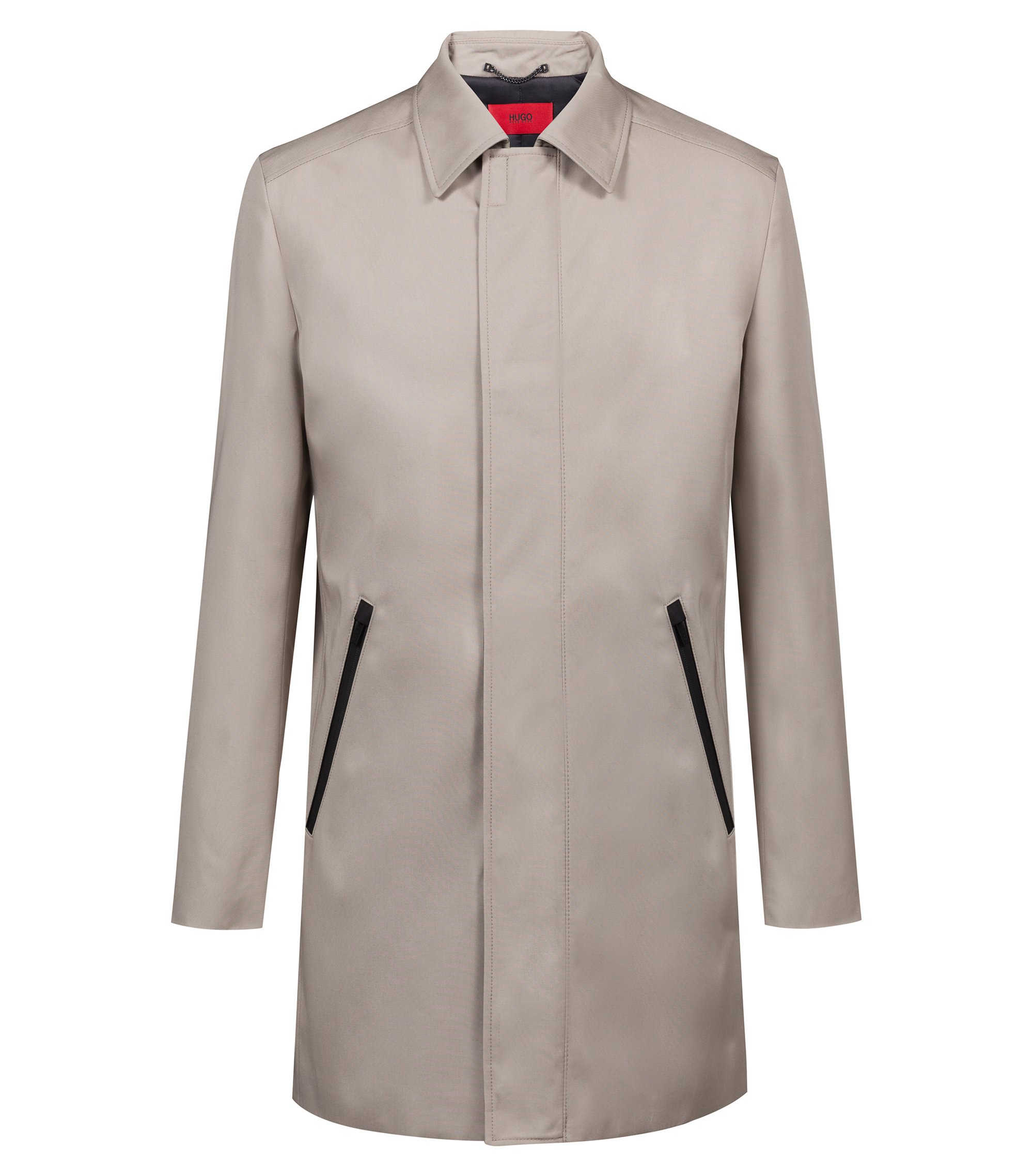 Slim-fit coat in water-repellent technical fabric , Beige