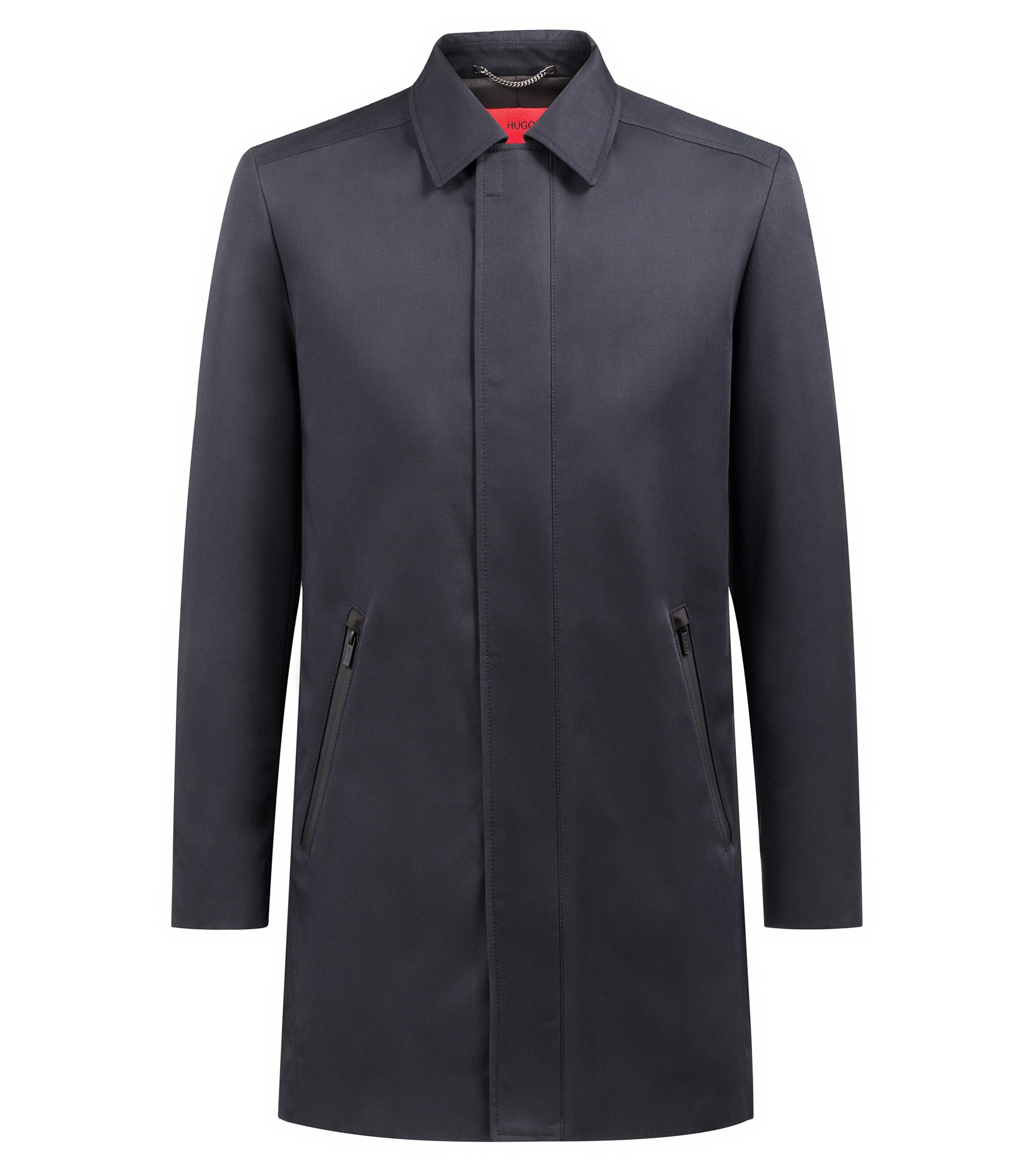 Cappotto slim fit in tessuto tecnico idrorepellente , Blu scuro