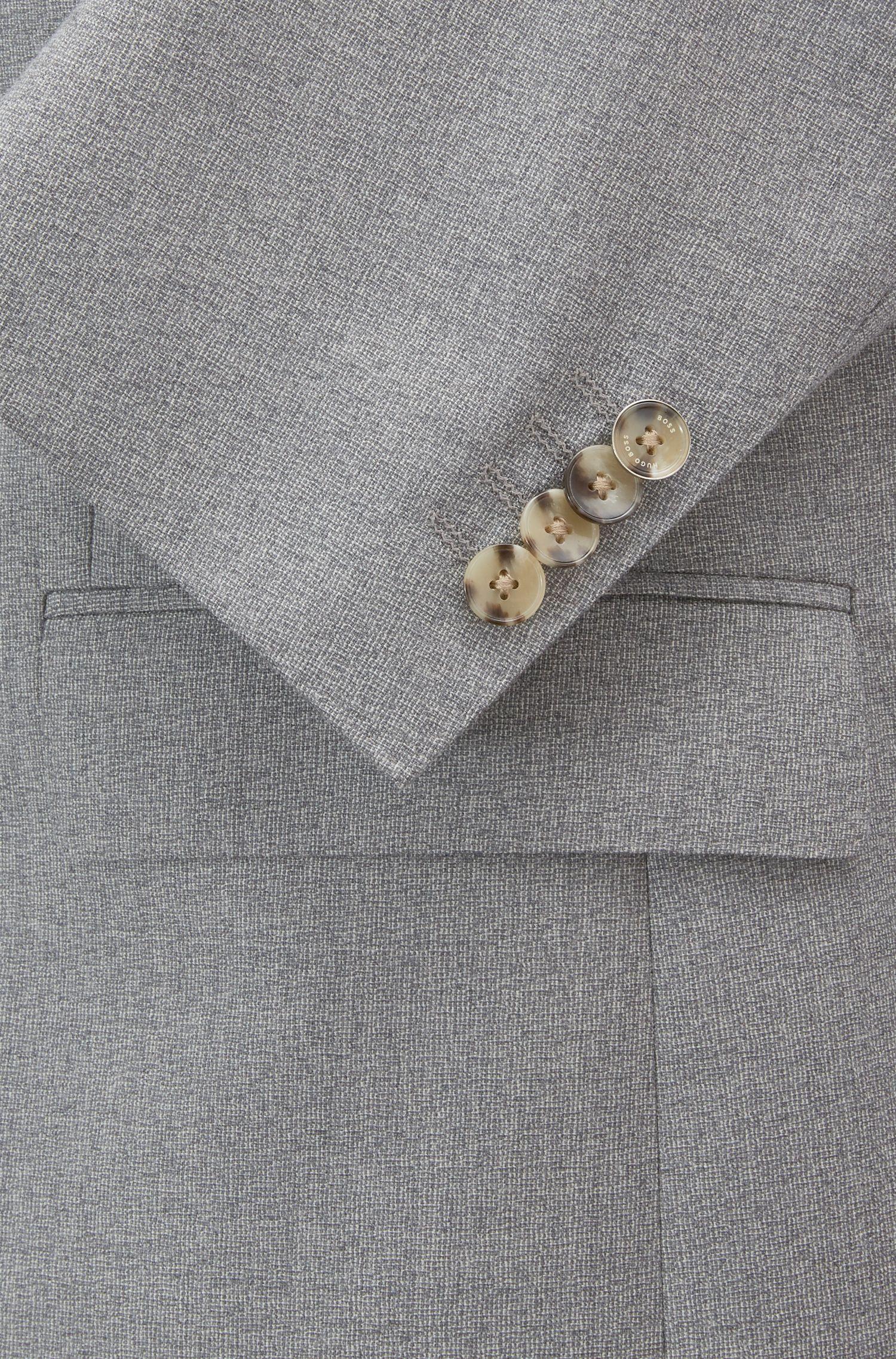 Regular-Fit Anzug aus meliertem Schurwoll-Serge, Grau