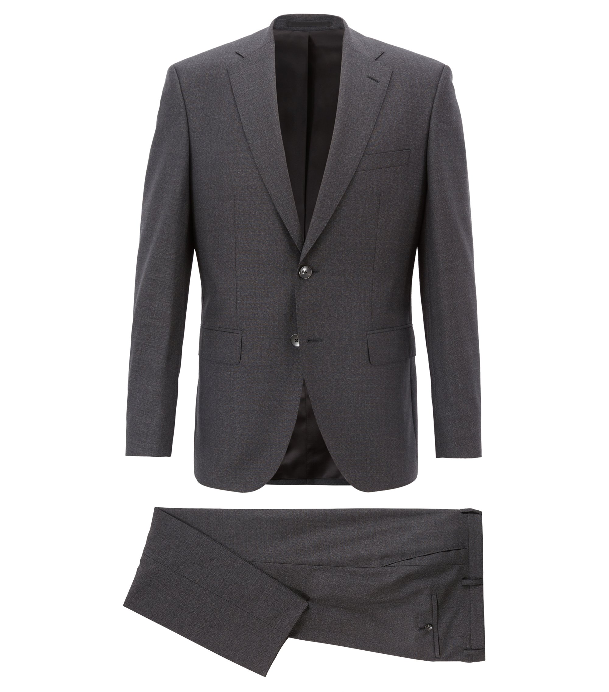 Regular-fit suit in melange virgin wool serge, Dark Grey