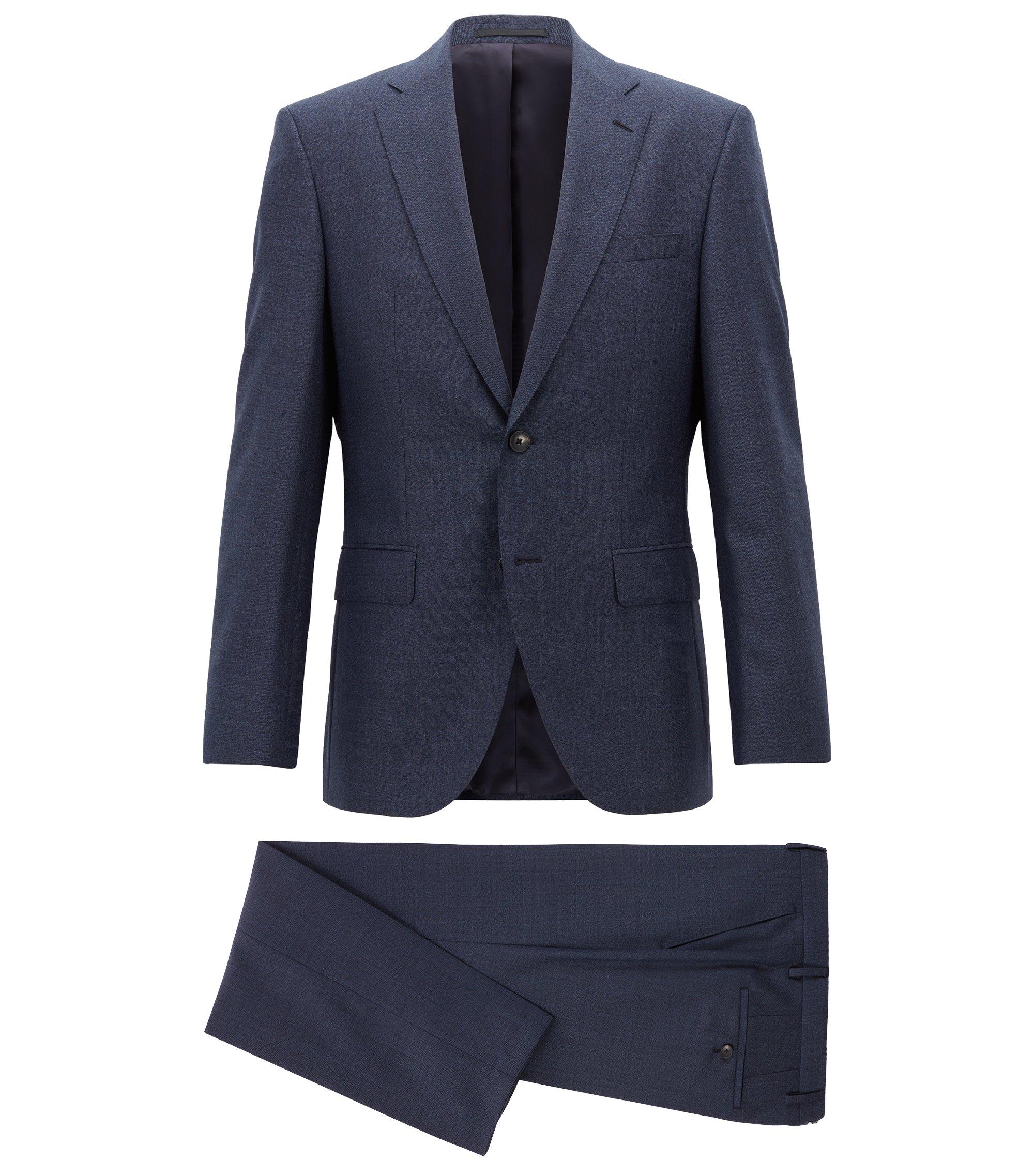 Regular-fit kostuum in een serge van gemêleerde scheerwol, Donkerblauw