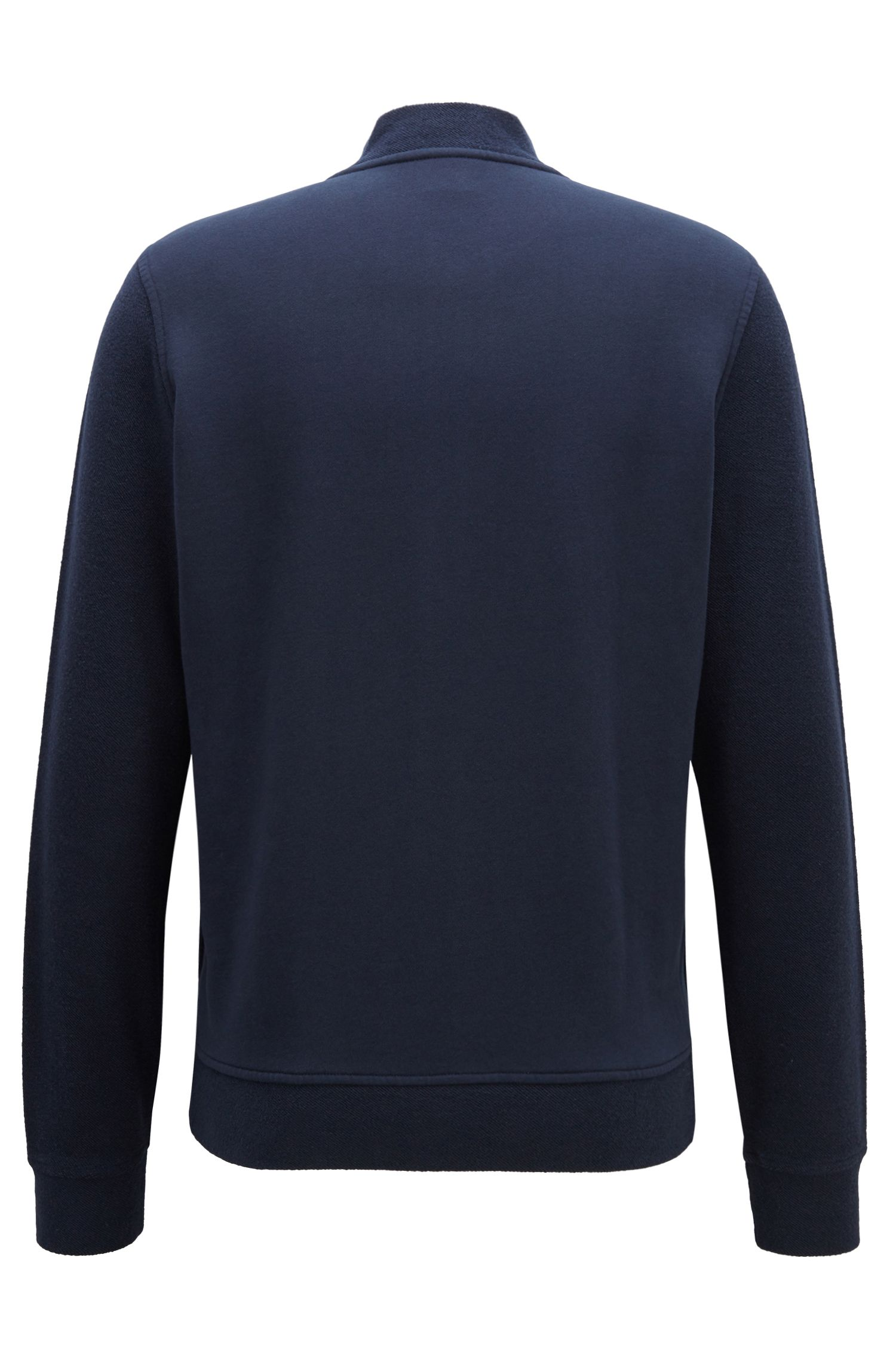 Sweater van badstof met ton-sur-ton details en doorlopende ritssluiting, Donkerblauw