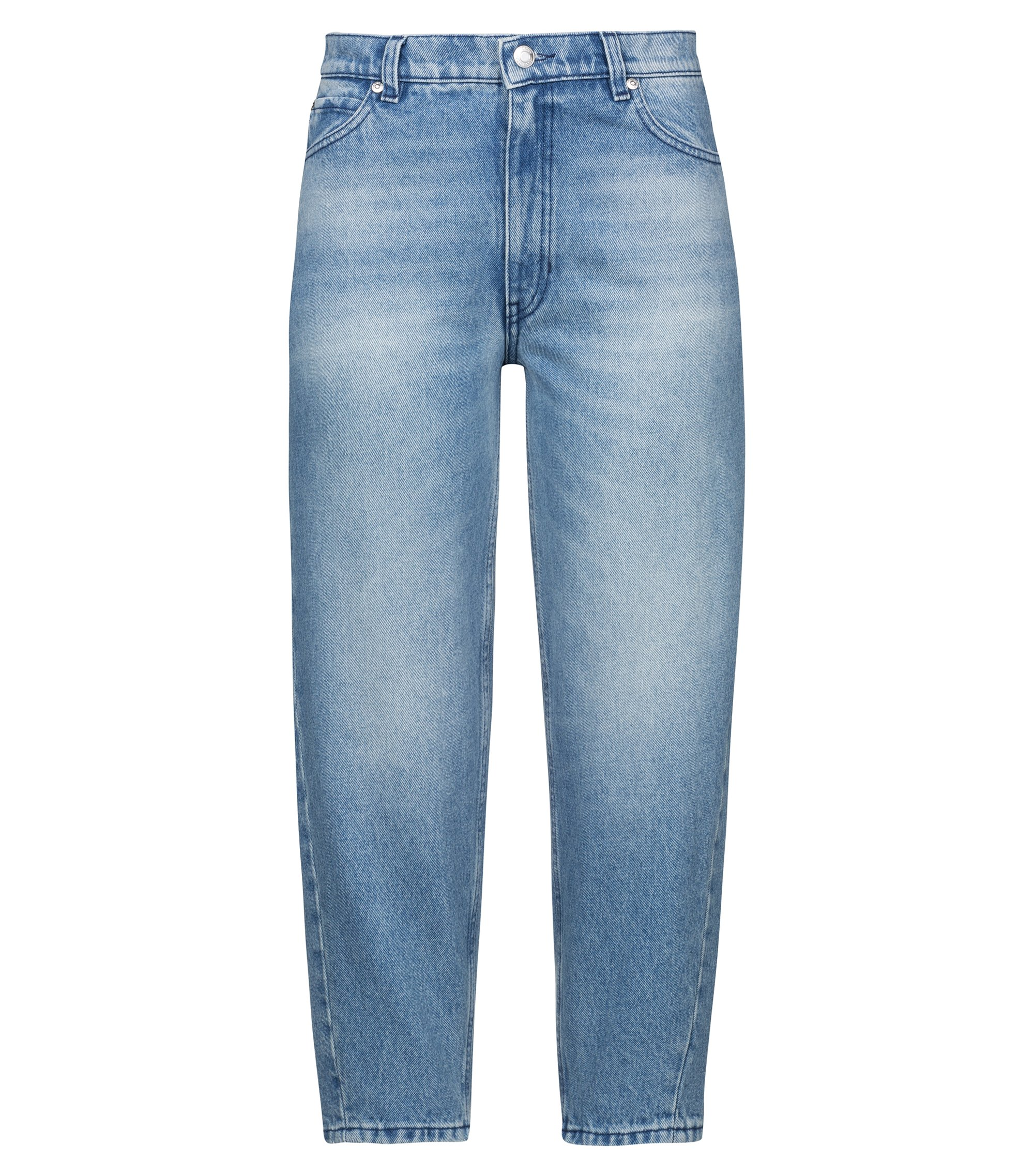 Carrot-fit jeans in distressed pure-cotton denim, Blue