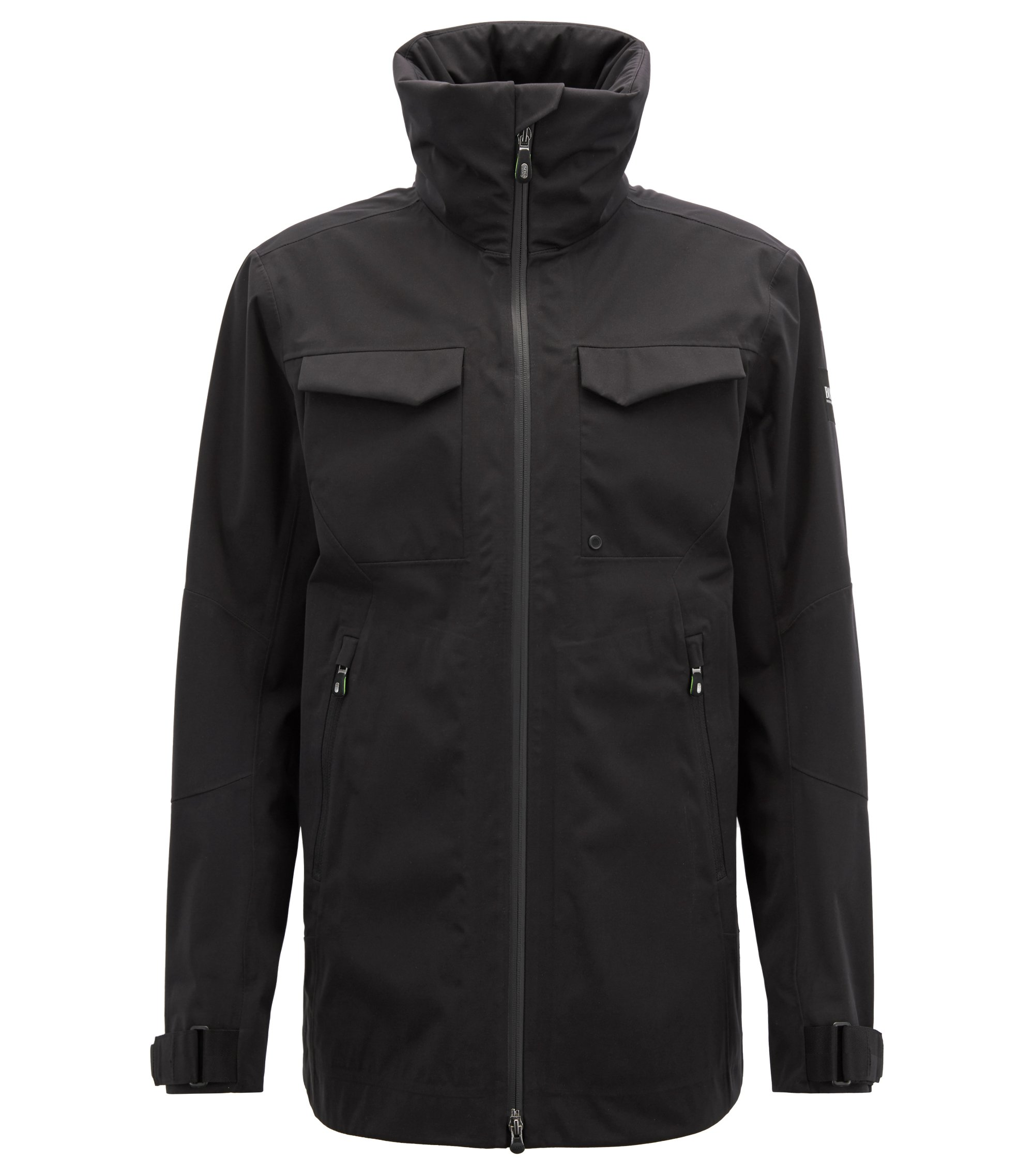 Waterproof softshell jacket with stowaway hood, Black