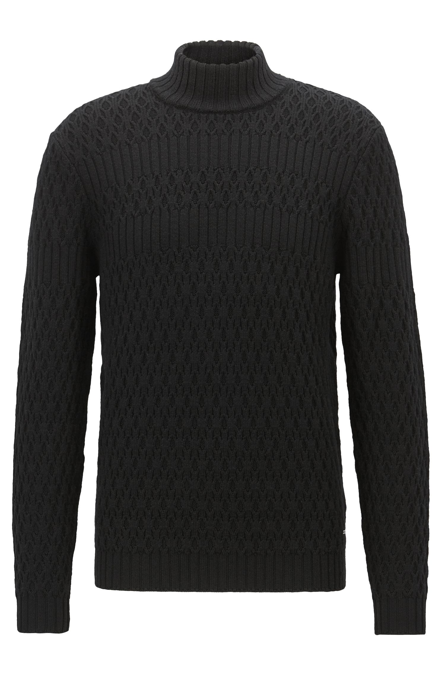 Jersey de manga larga en lana virgen con cuello alto