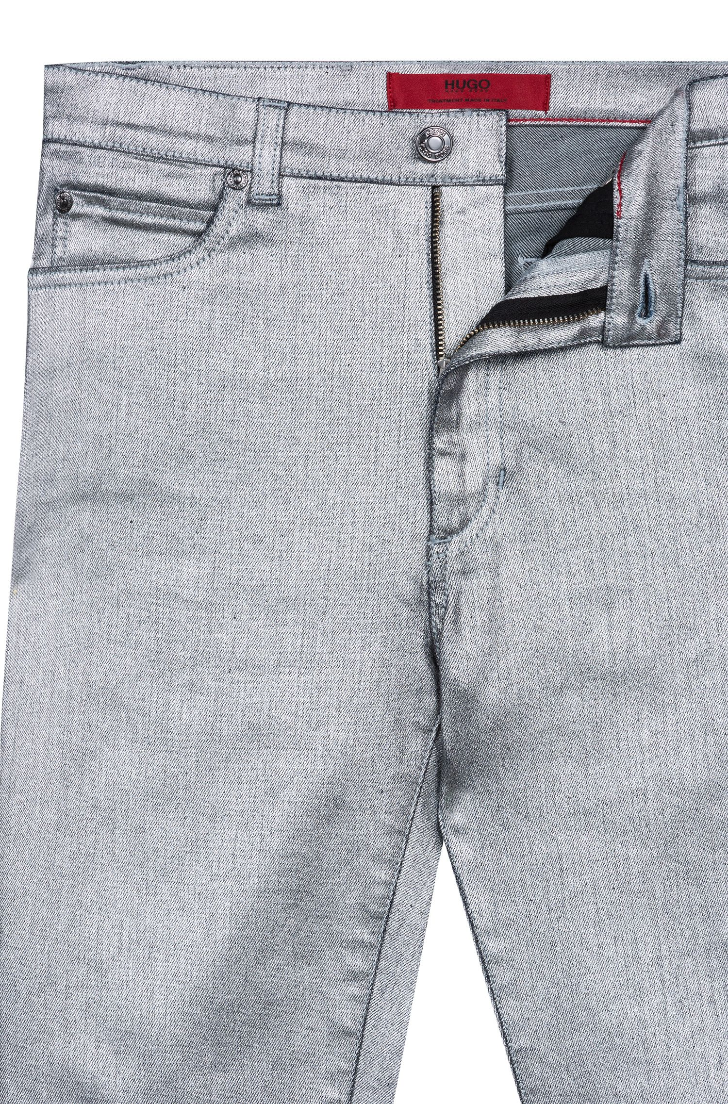 Jean Skinny Fit en denim stretch argenté