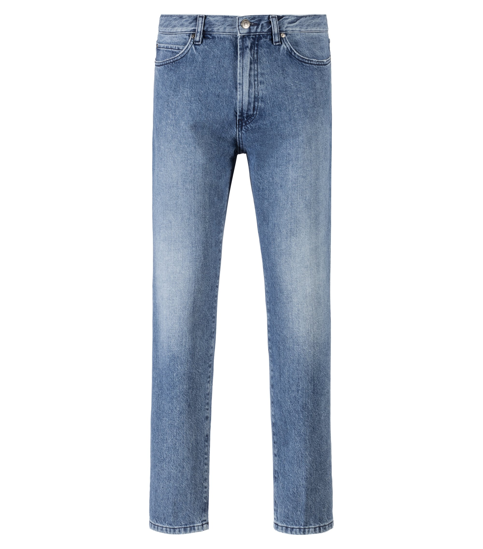 Jeans unisex regular fit in denim blu acceso realizzato in Italia, Blu