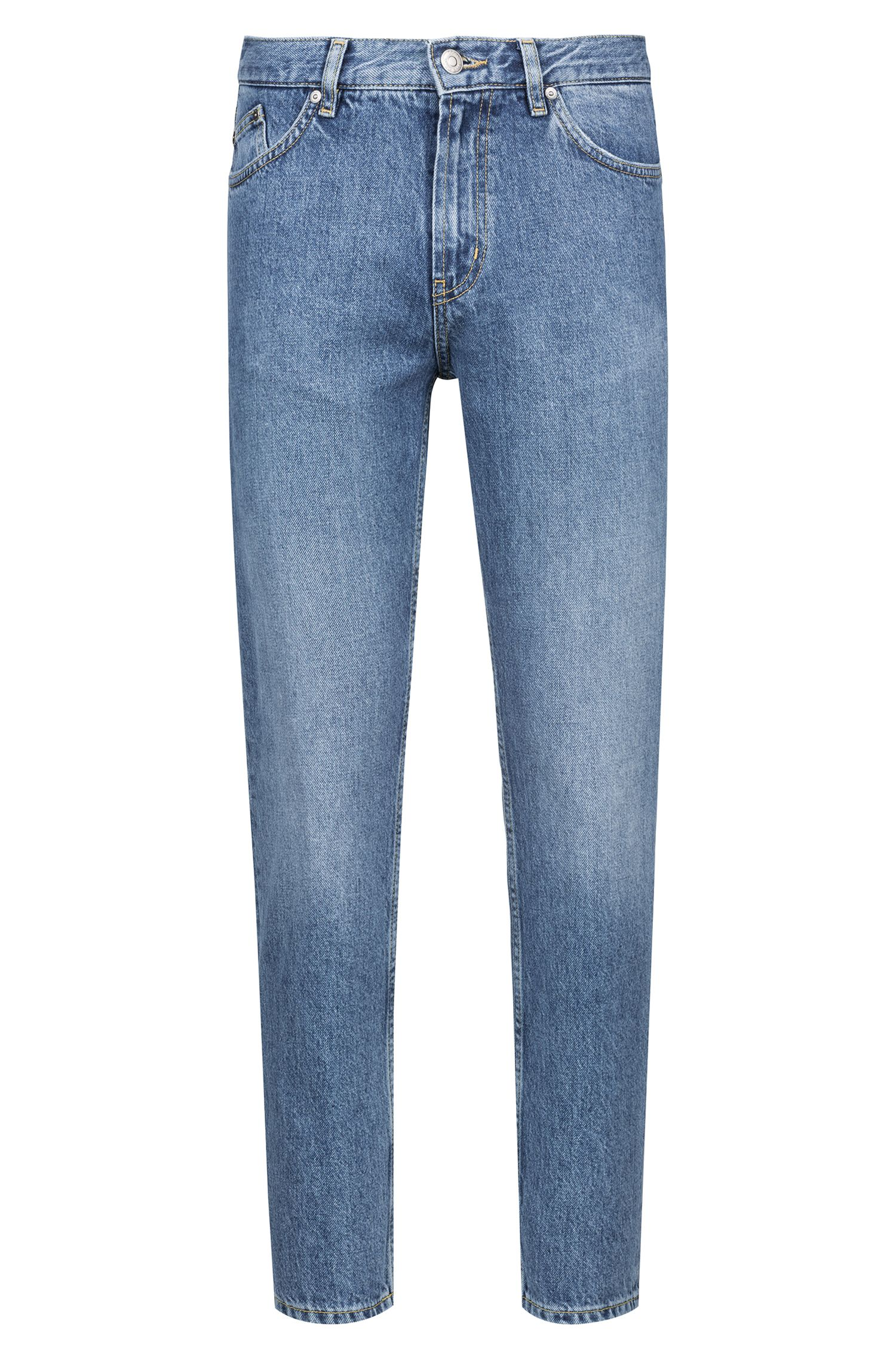 Jean Tapered Fit en denim italien, Bleu vif