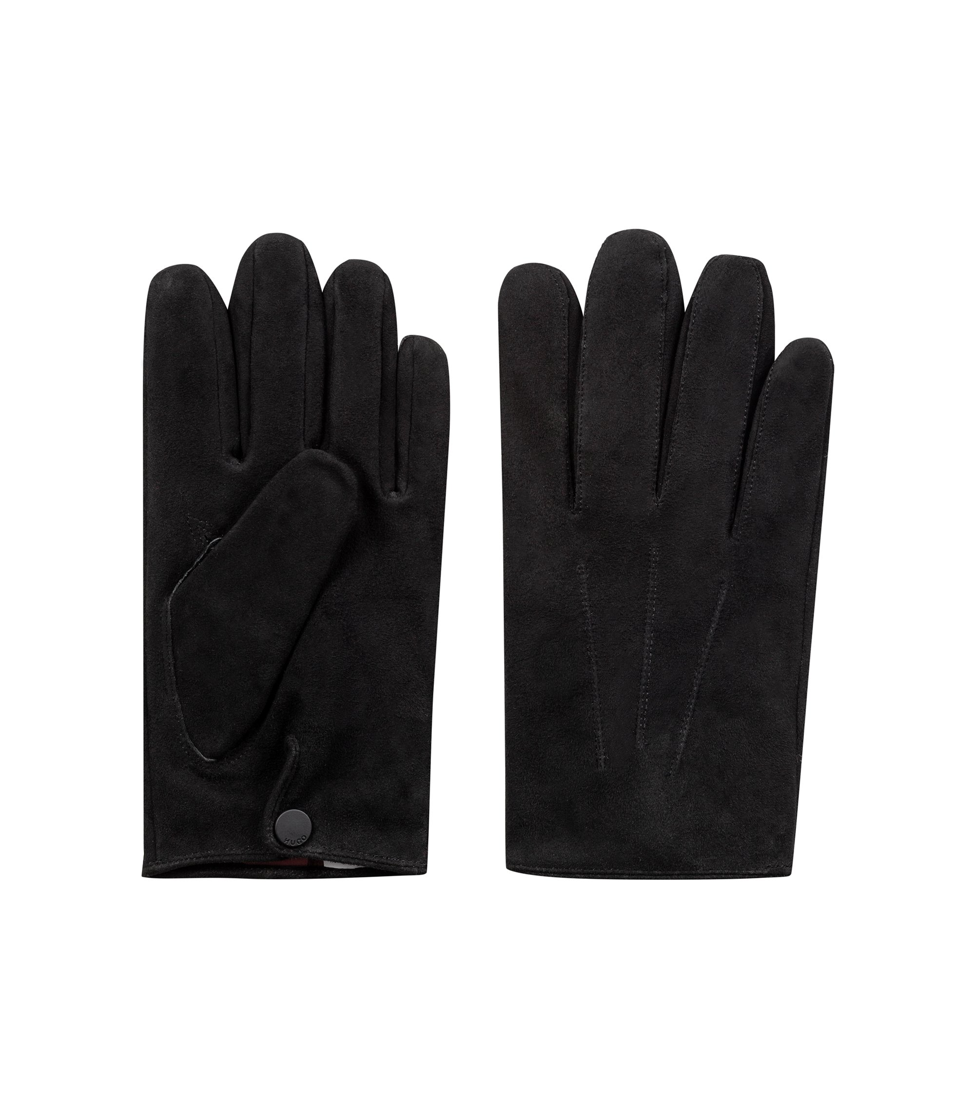 Suede gloves with cashmere lining, Black
