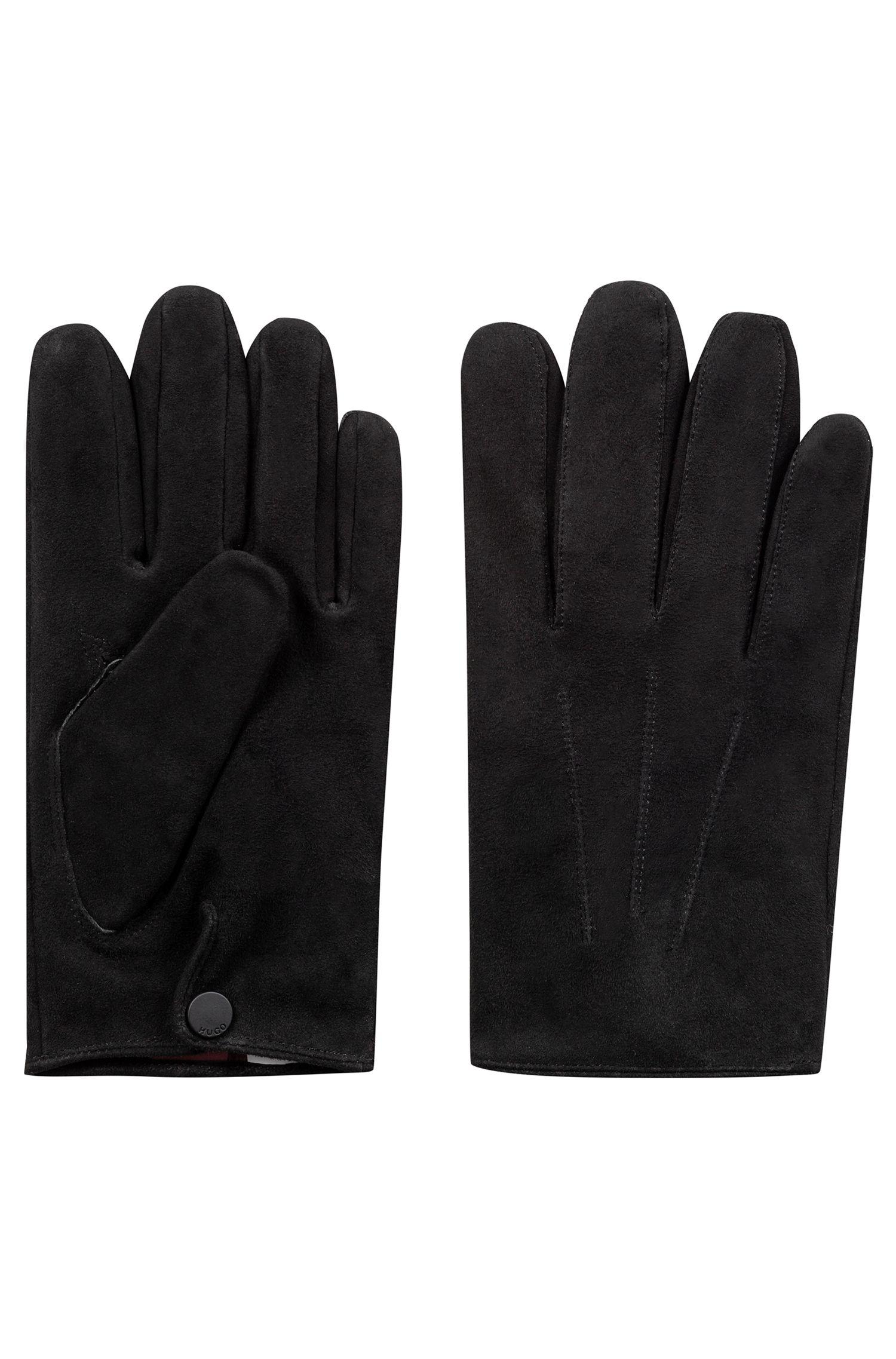 Handschuhe aus Veloursleder mit Kaschmirfutter, Schwarz