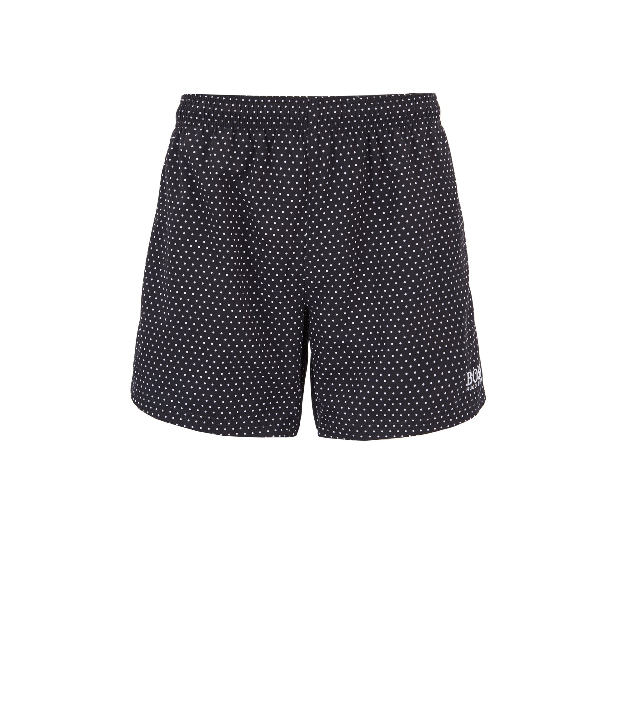 Short-length swim shorts with foil-printed pattern, Black
