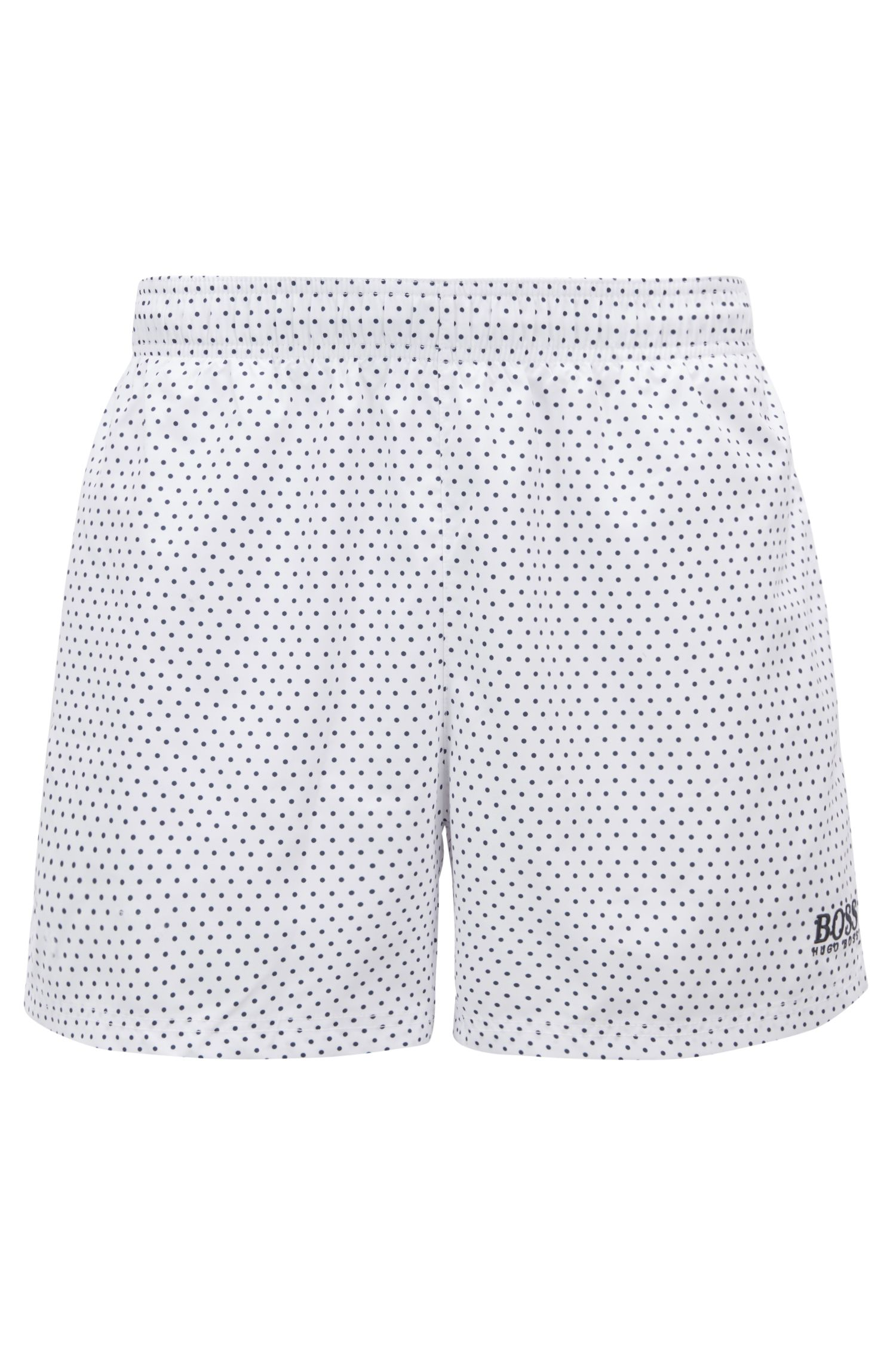 Short-length swim shorts with foil-printed pattern, Open White