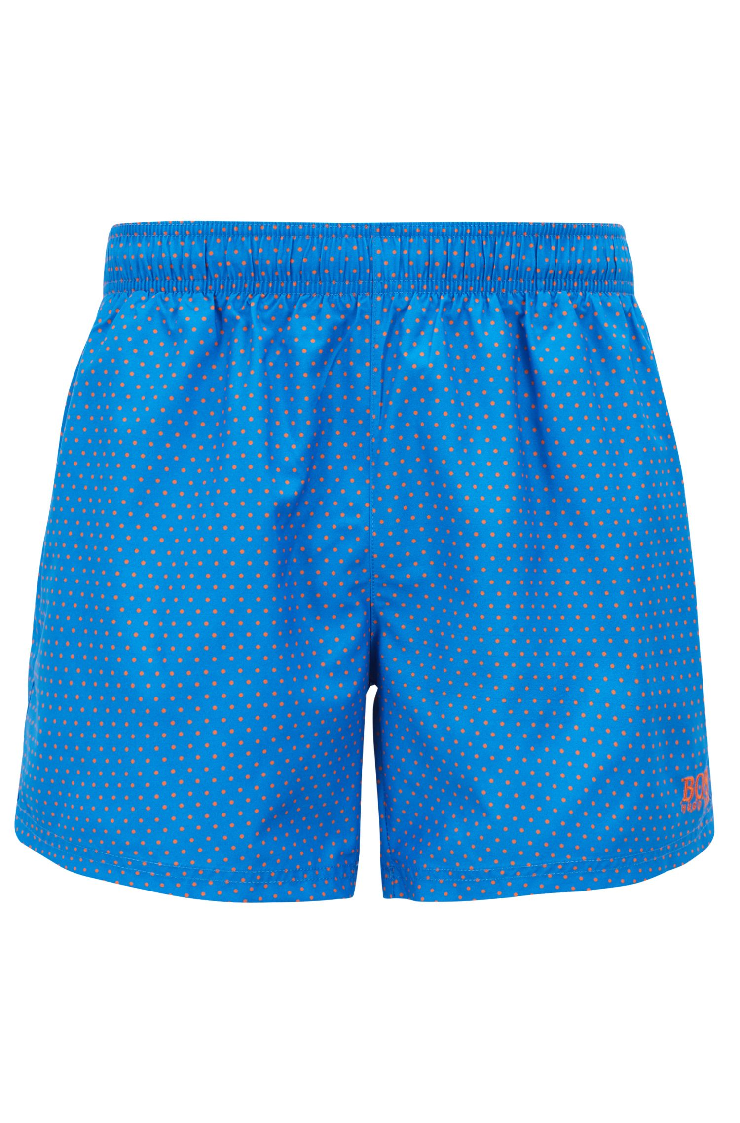 Short-length swim shorts with foil-printed pattern, Blue