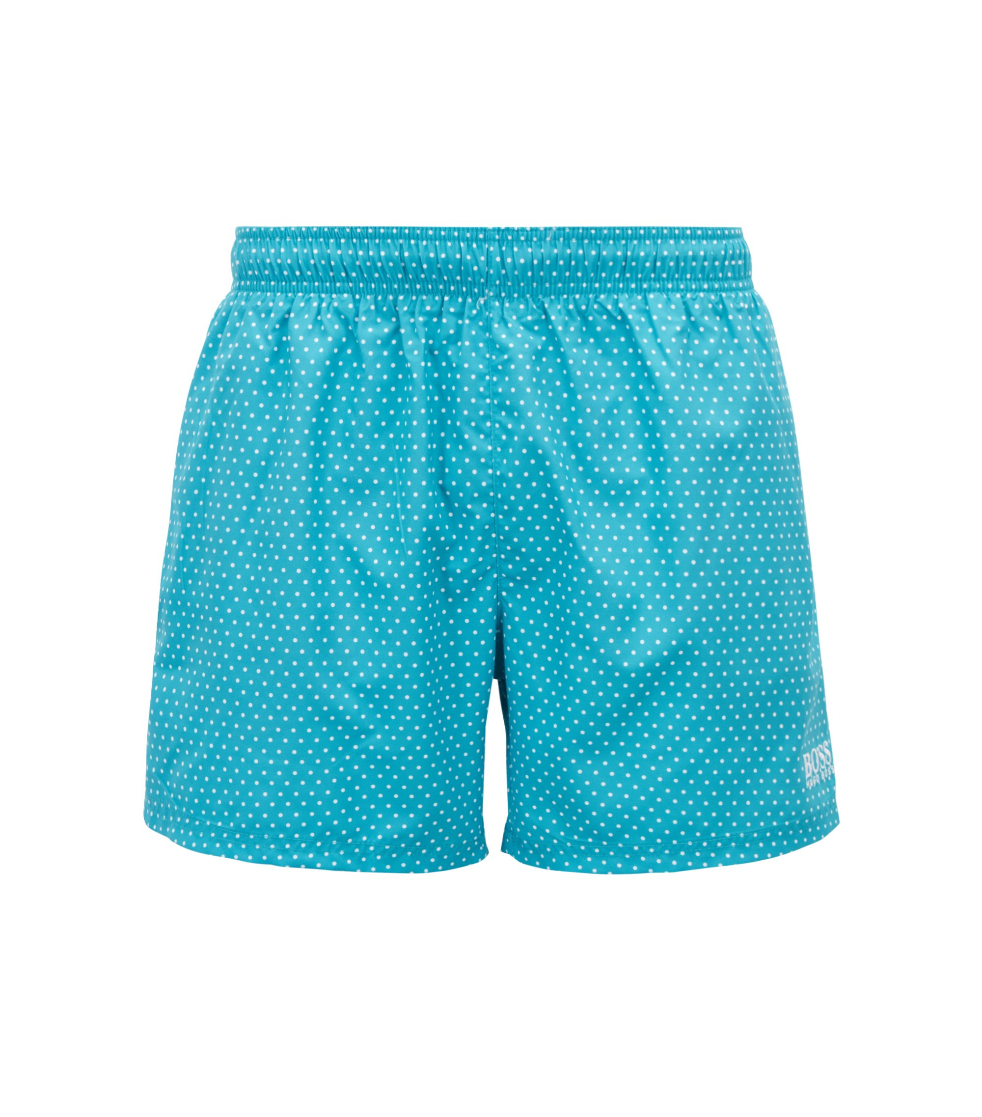 Short-length swim shorts with foil-printed pattern, Turquoise