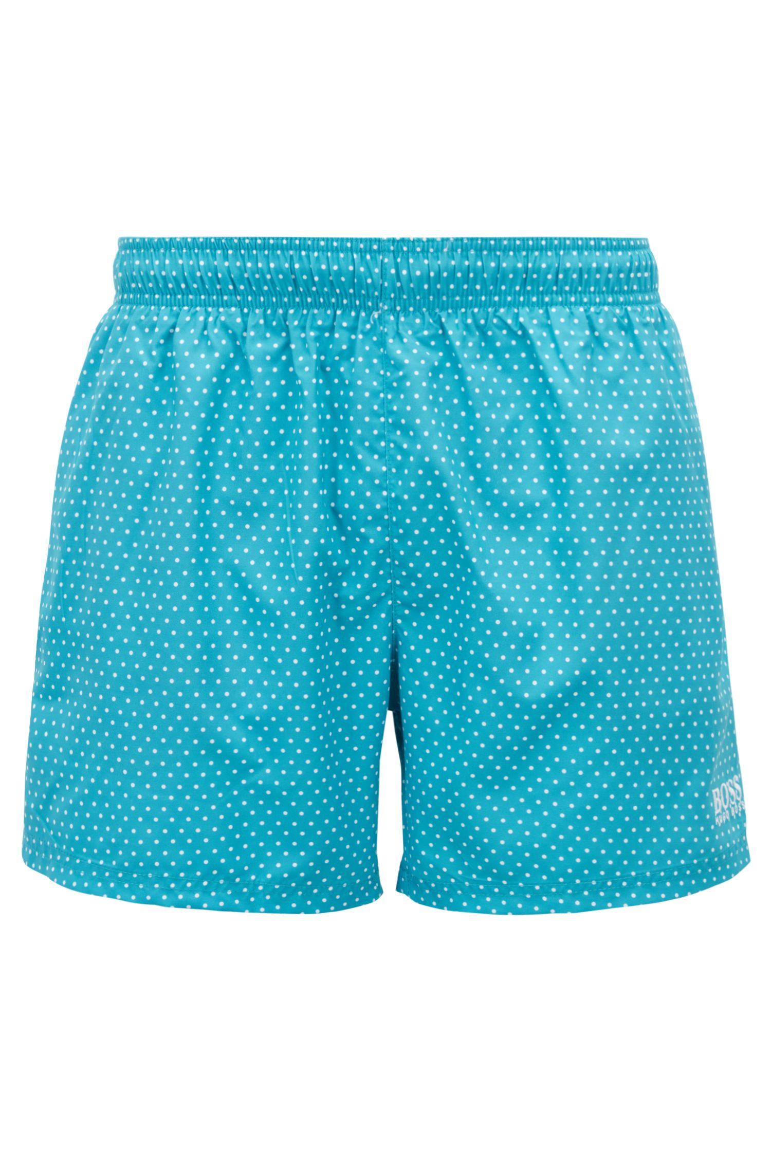 Bañador tipo shorts corto con diseño estampado en lámina, Turquesa