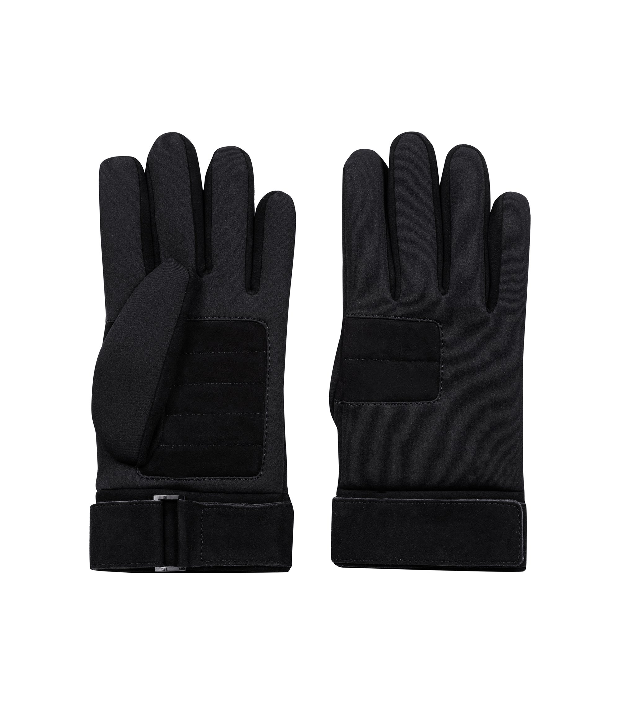 Fully lined gloves in velour leather with technical highlights, Black