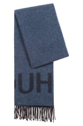 56ae9e5a364 Écharpe unisex à logo inversé en laine mélangée brossée