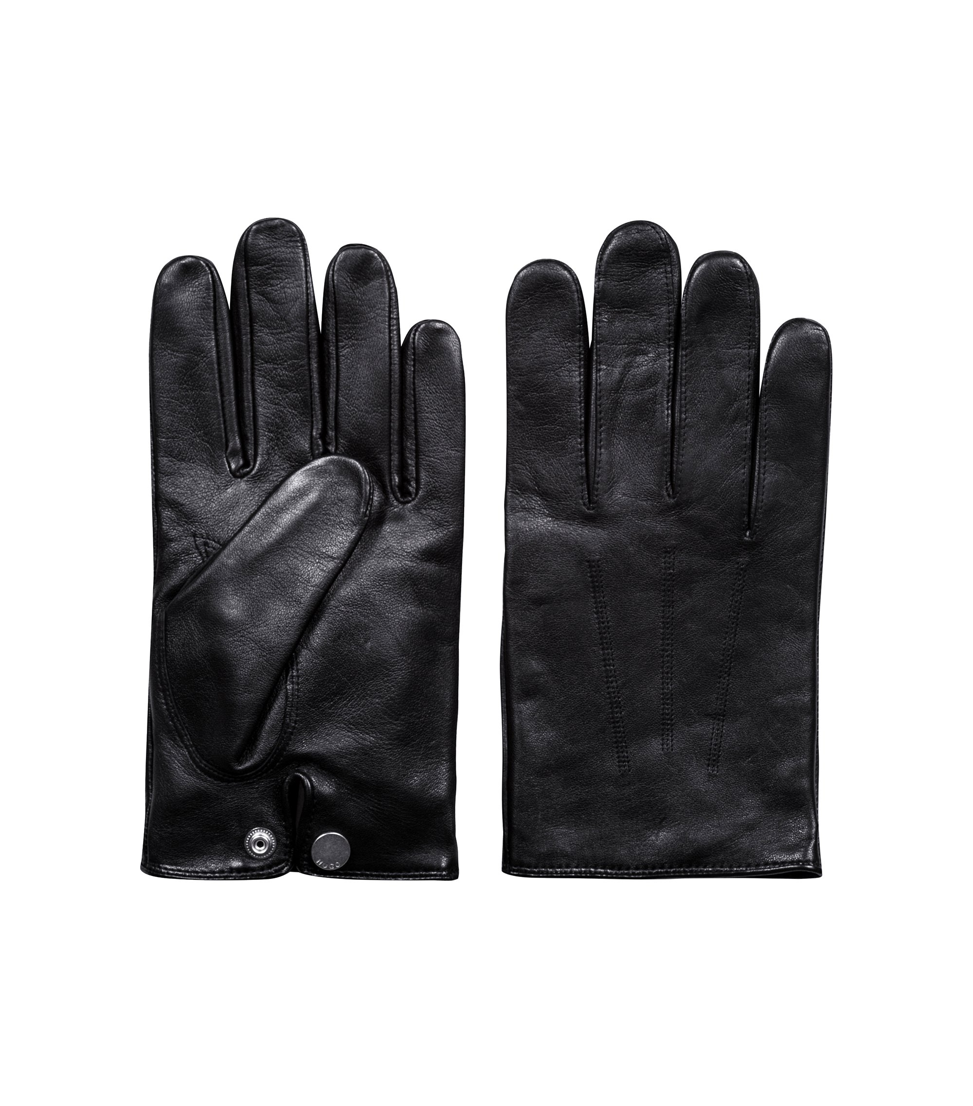 Lightweight gloves in nappa leather with red cashmere lining, Black