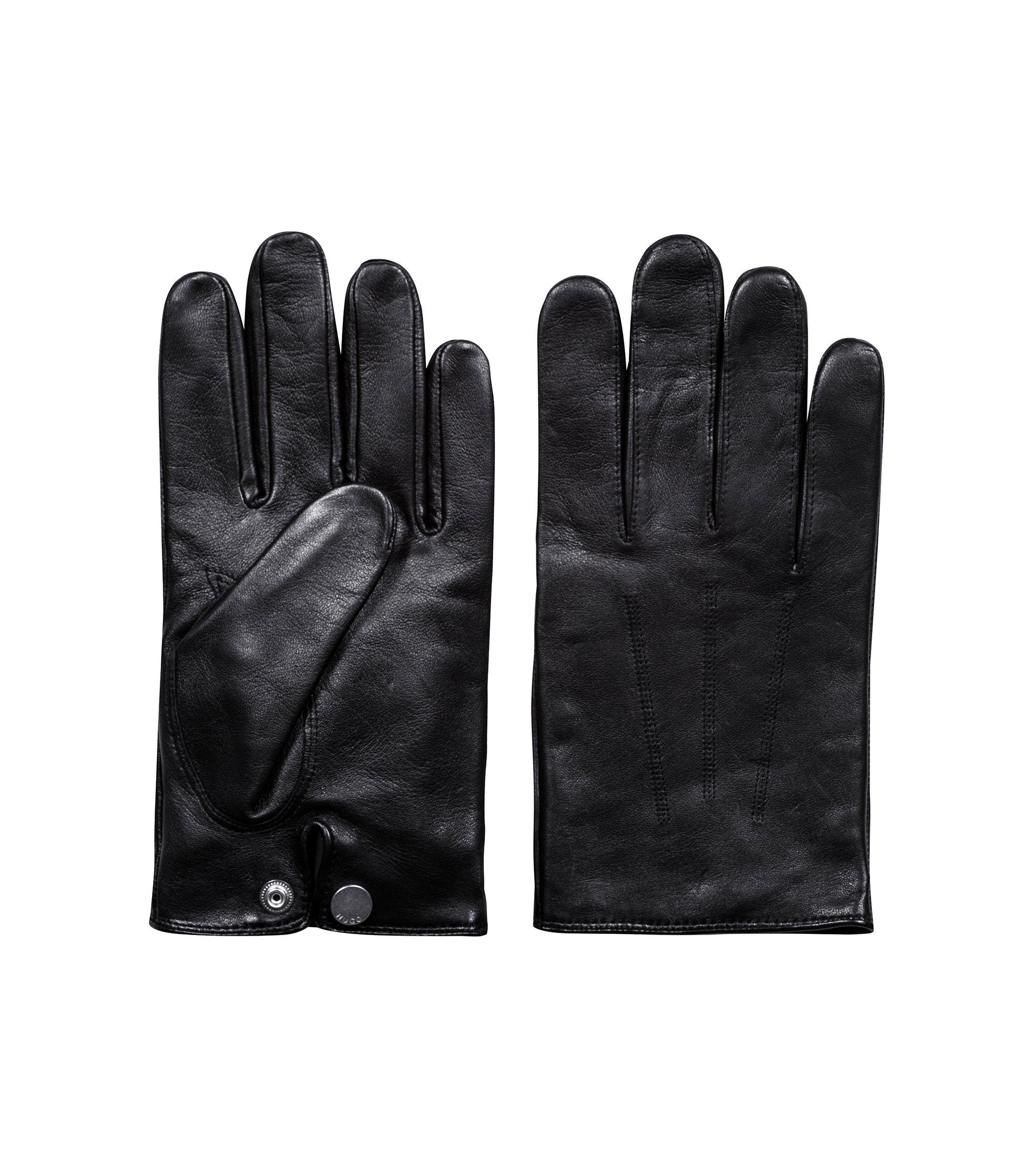 Handschuhe aus leichtem Nappaleder mit rotem Kaschmir-Innenfutter, Schwarz