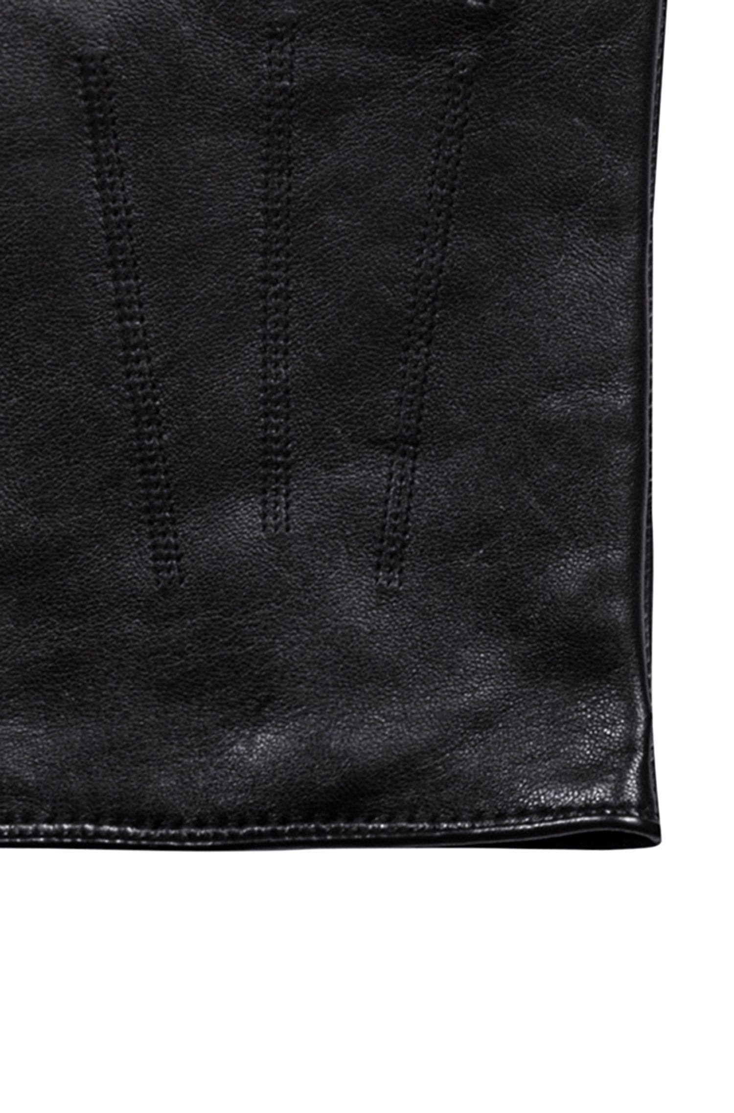 Gants légers en cuir nappa avec doublure en cachemire rouge, Noir