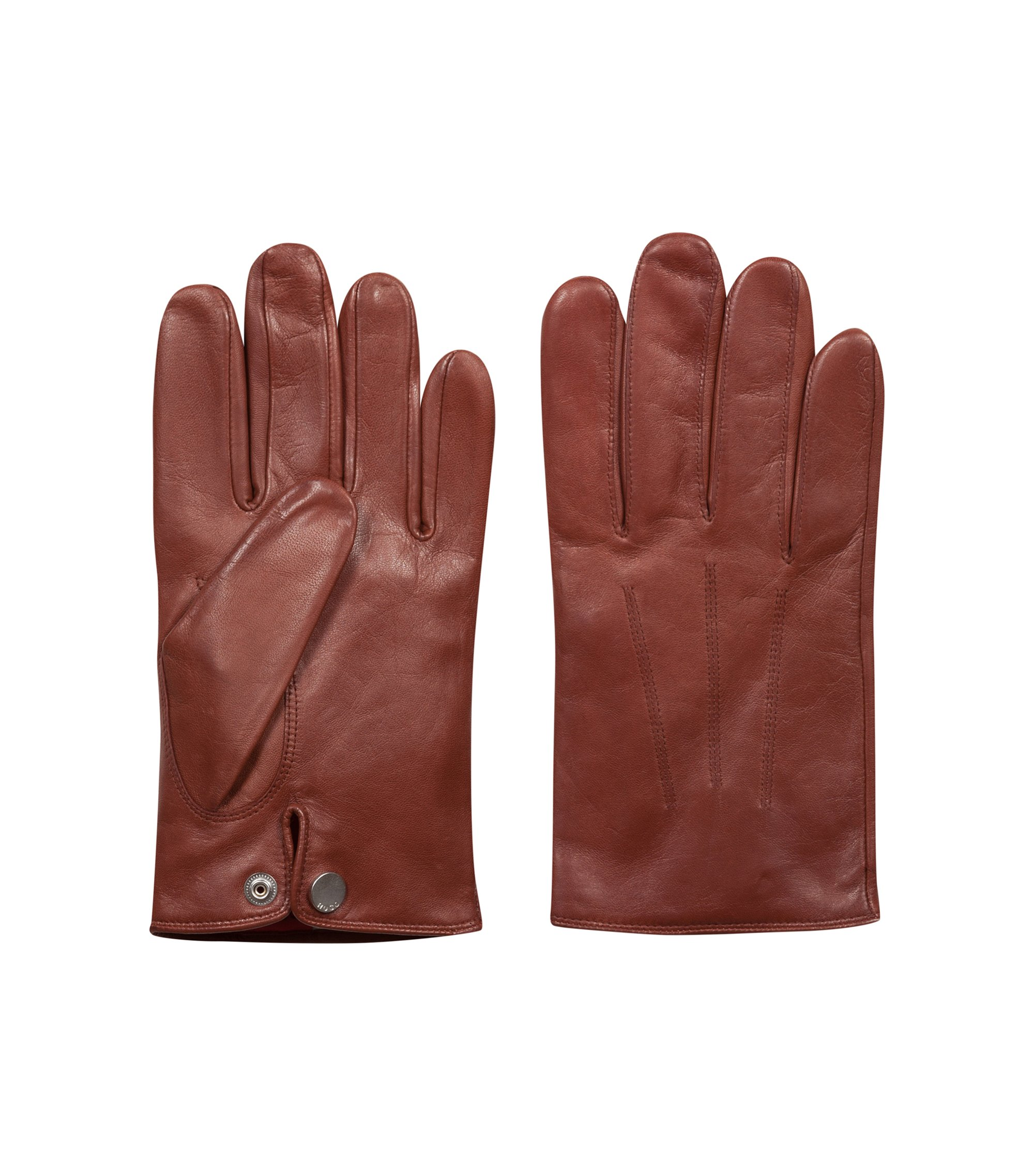 Lightweight gloves in nappa leather with red cashmere lining, Brown
