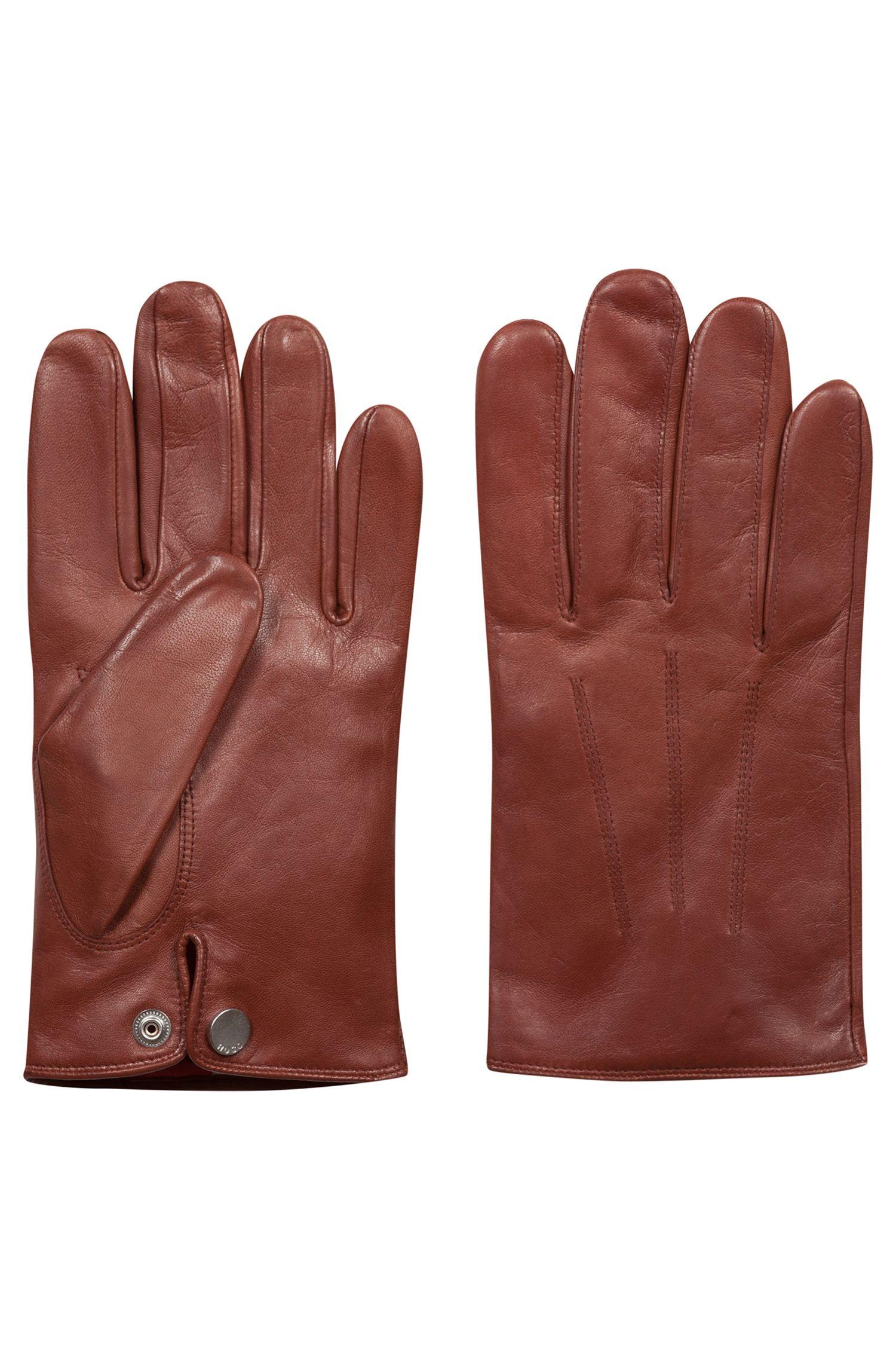 Gants légers en cuir nappa avec doublure en cachemire rouge, Marron