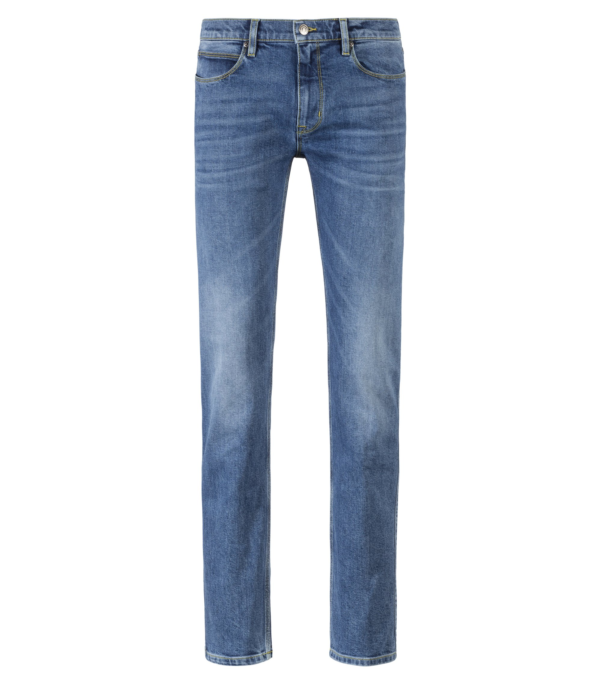 Jeans slim fit in denim elasticizzato blu con impunture di colore a contrasto, Blu