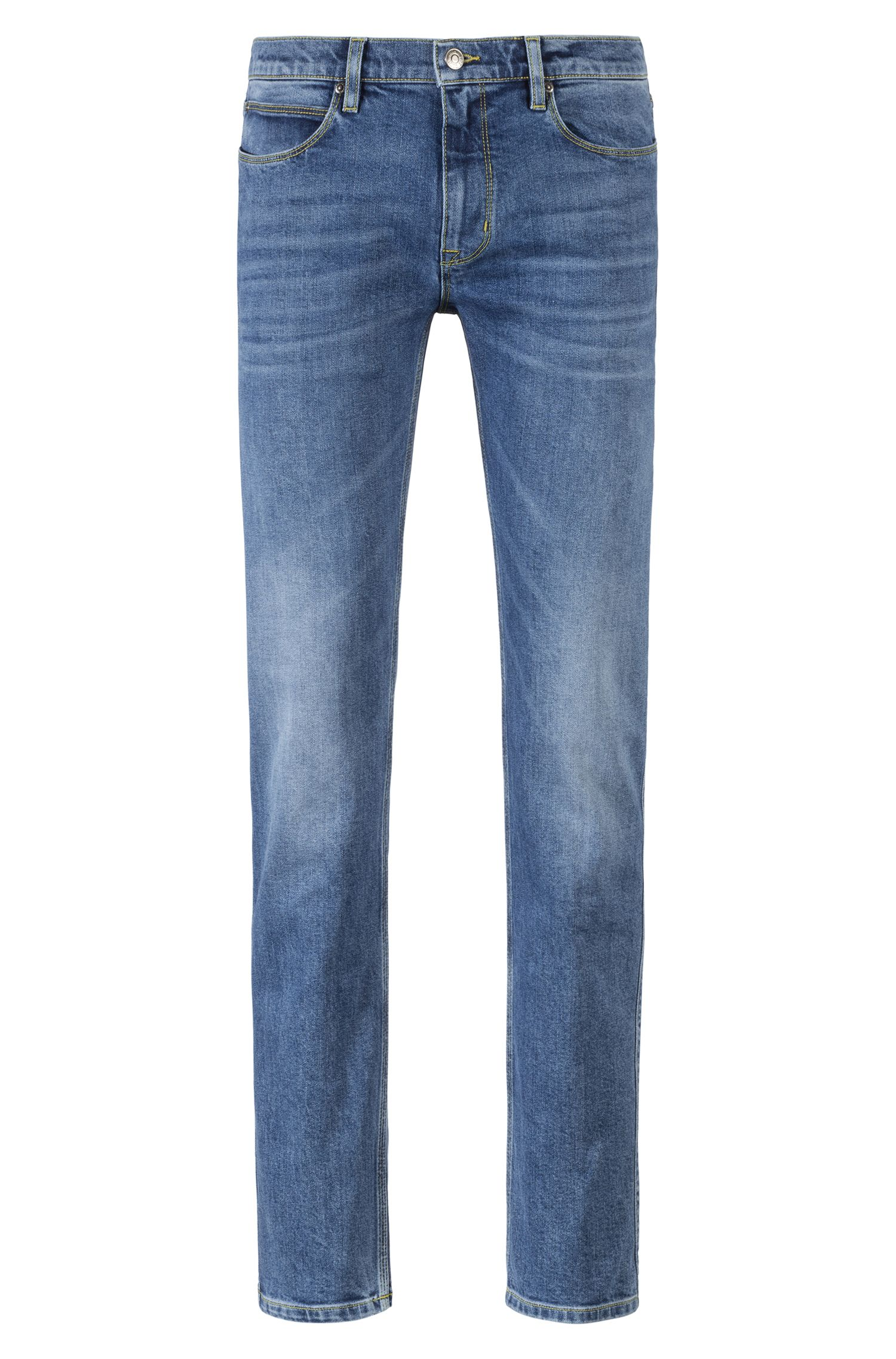 Slim-fit stretch-denim blue jeans with contrast stitching