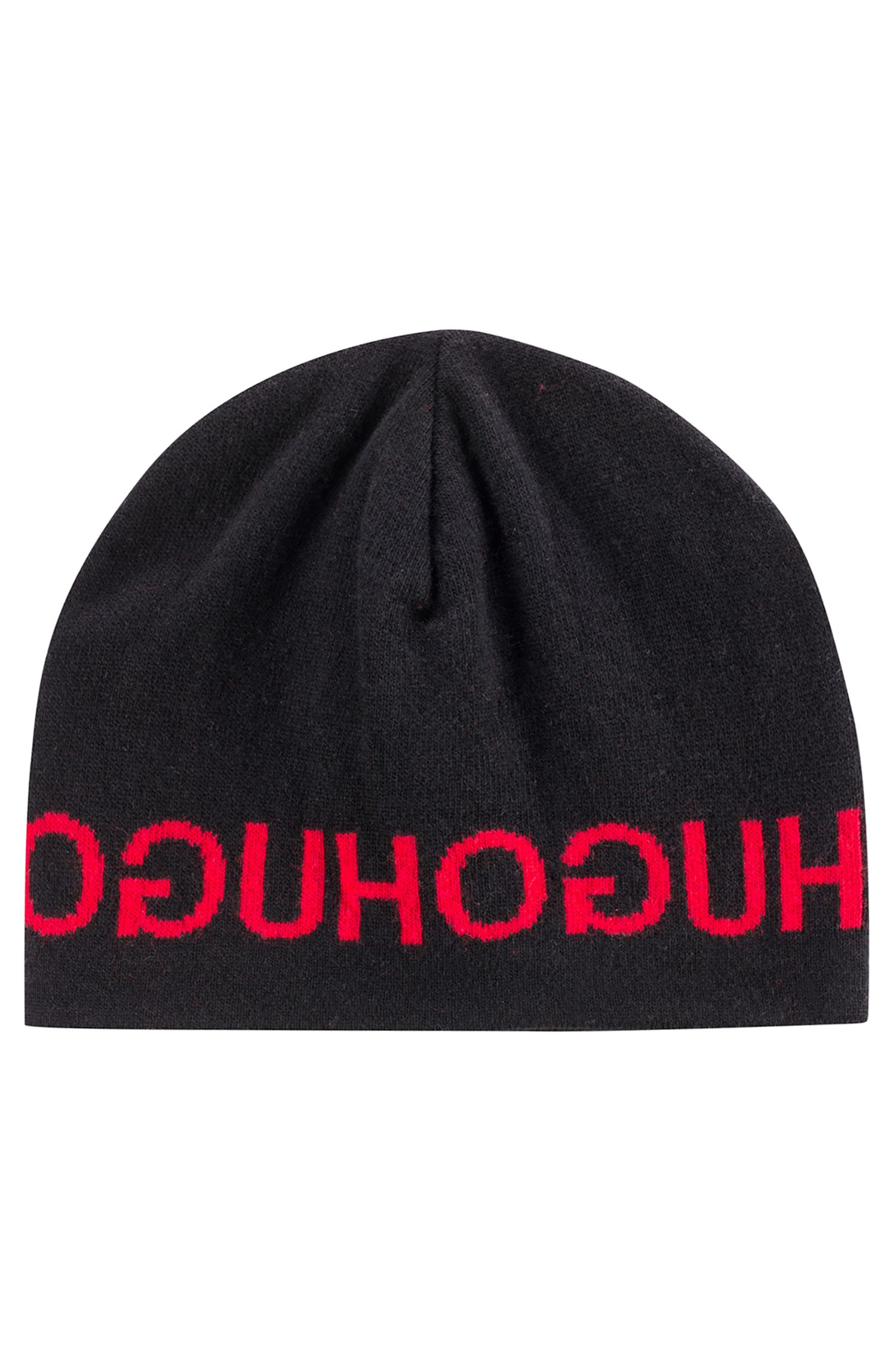 Knitted beanie hat with repeated reverse logo , Black