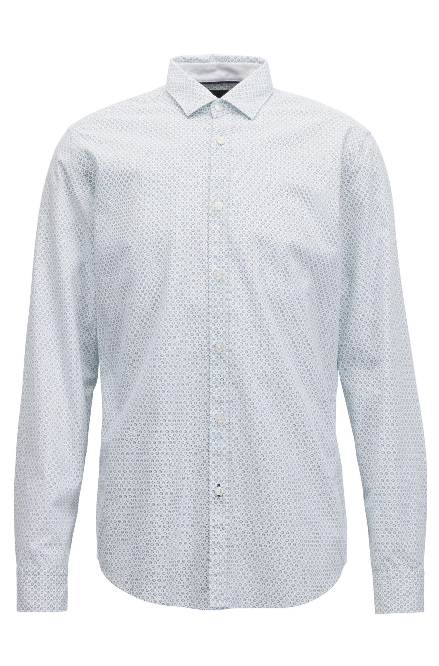 Camicia regular fit in cotone stampato effetto slavato