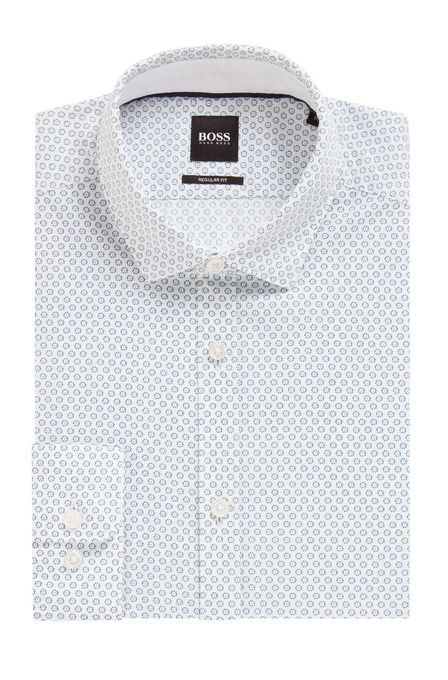 Regular-Fit Hemd aus bedruckter Baumwolle, Türkis