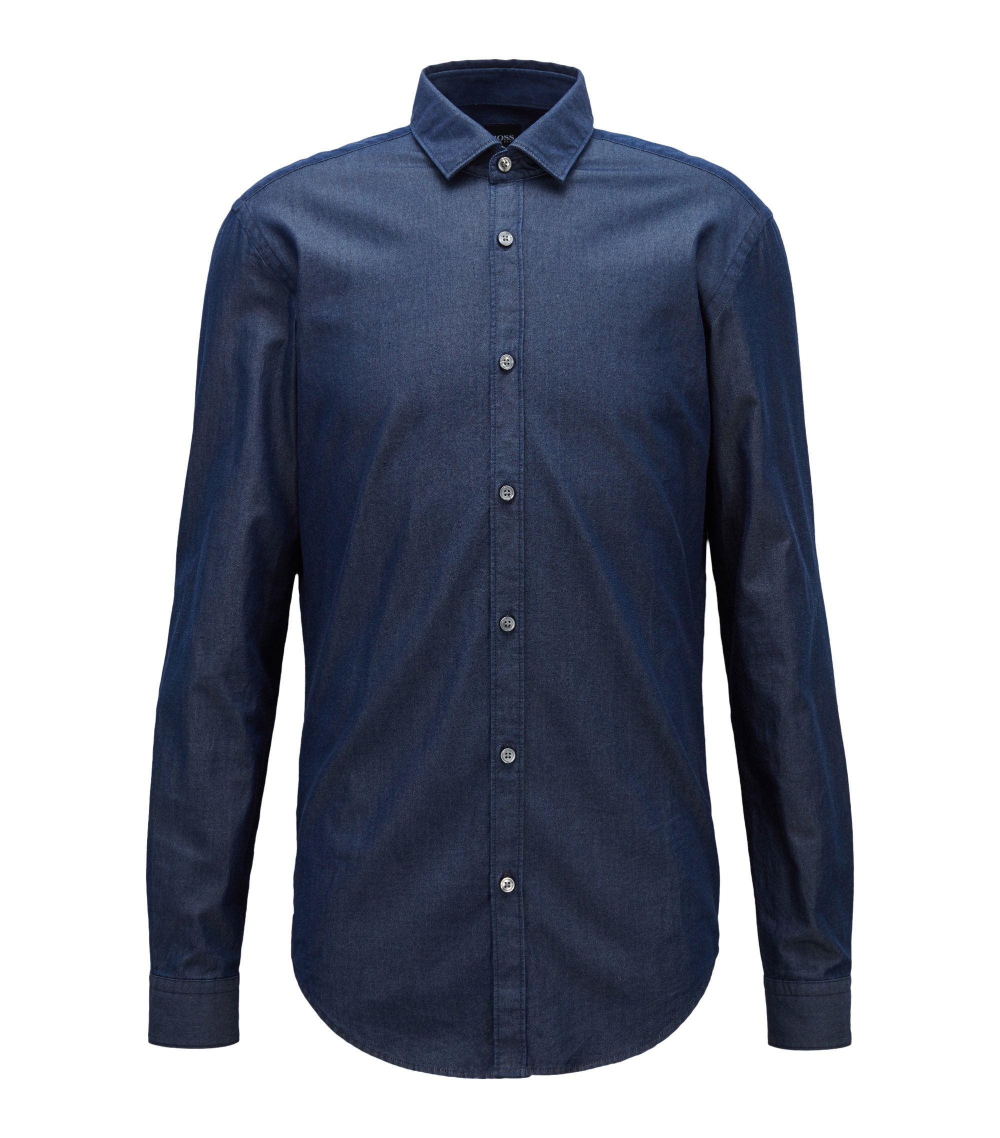 Slim-fit casual shirt in indigo denim twill, Dark Blue