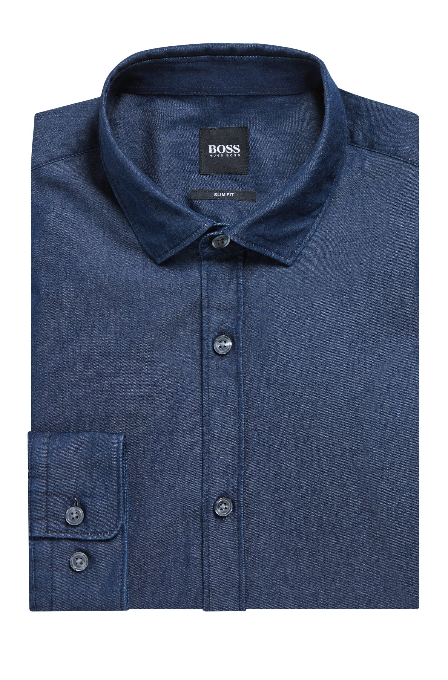 Slim-fit casual overhemd in een twill van indigo denim, Donkerblauw