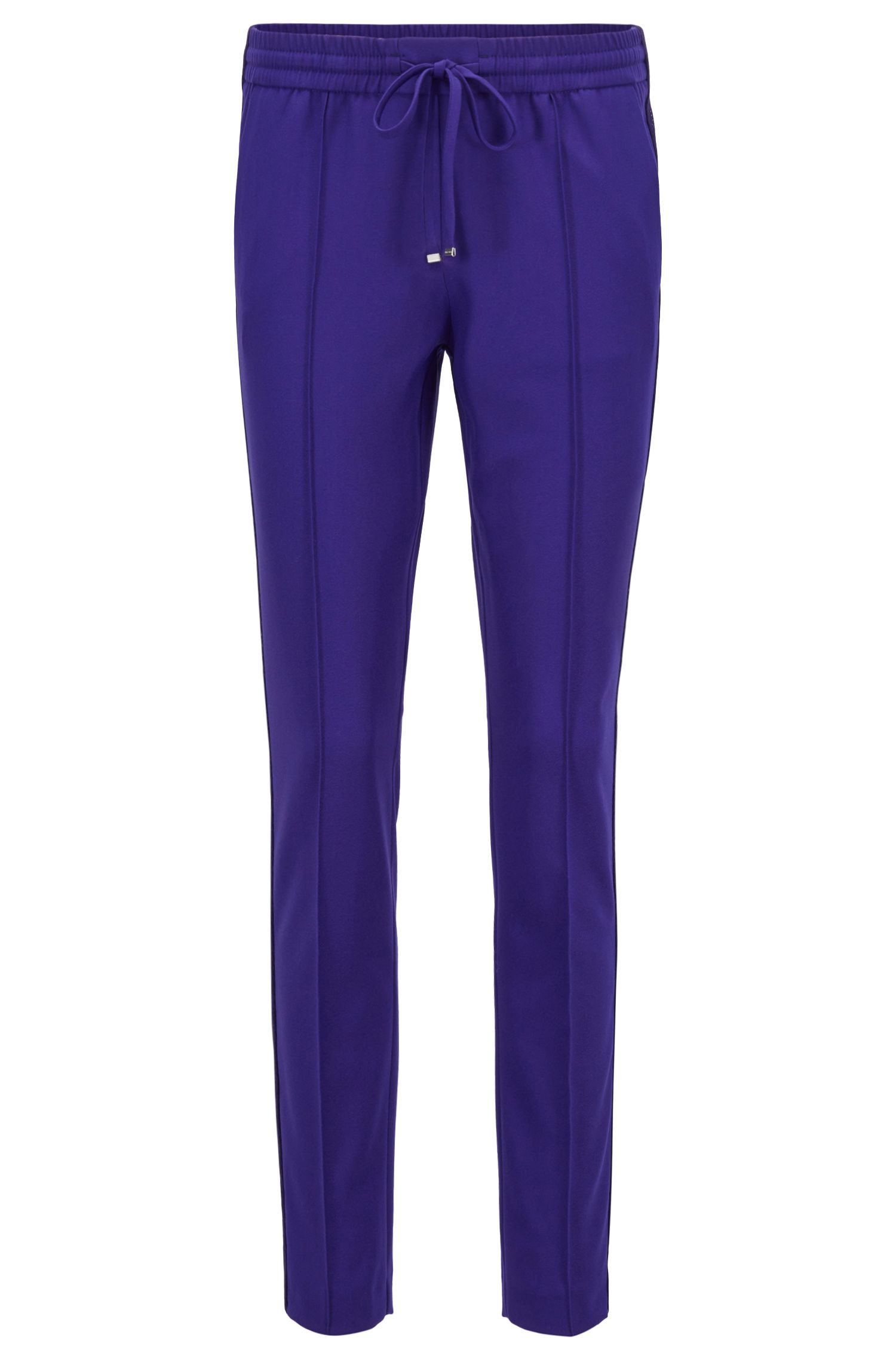 Relaxed-fit trousers in stretch fabric with cropped leg, Open Purple