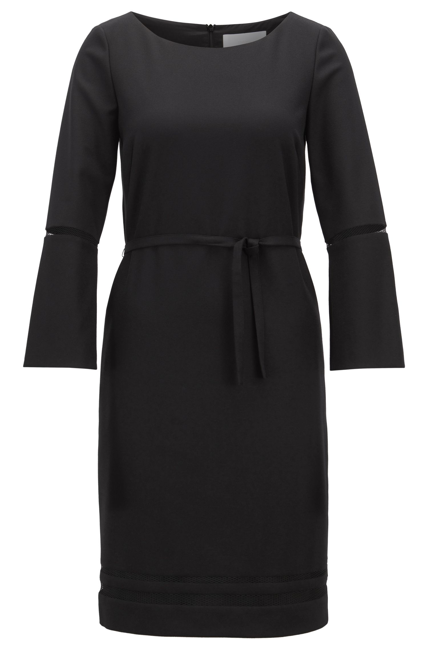 Flared-sleeve dress in stretch crepe with mesh detailing, Black