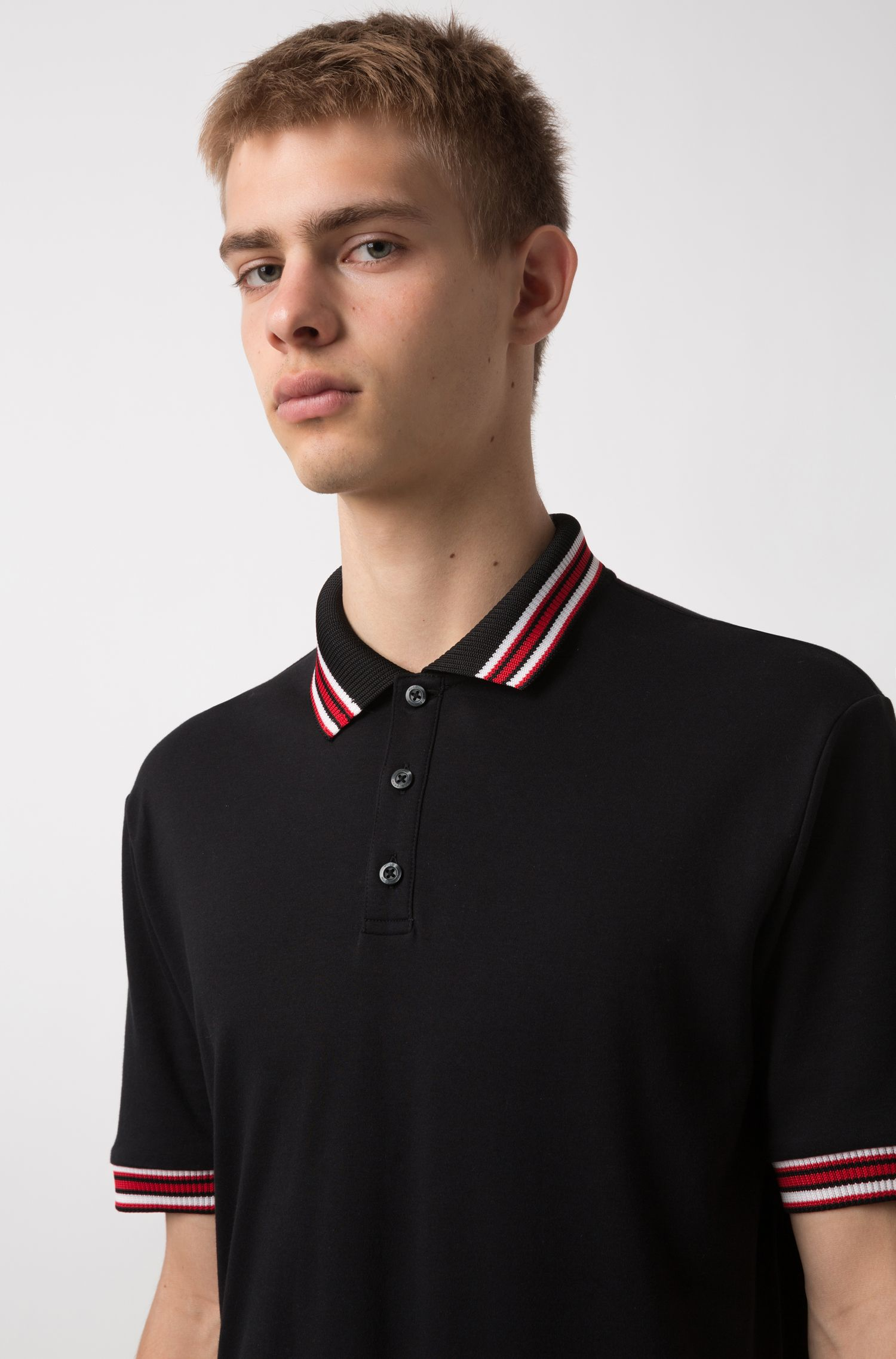 Regular-fit polo shirt in cotton with tipping stripes, Black