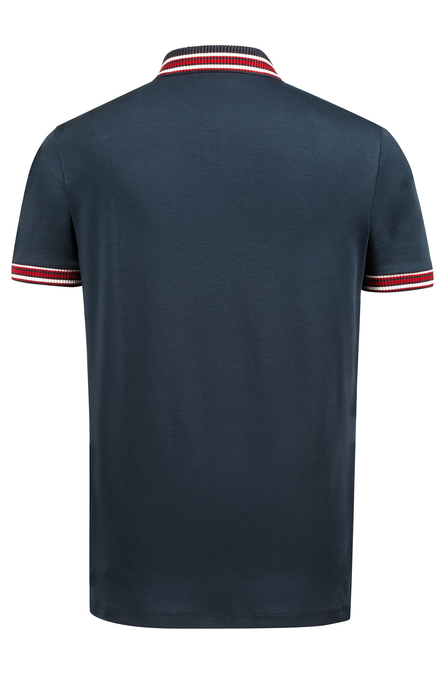 Regular-fit polo shirt in cotton with tipping stripes