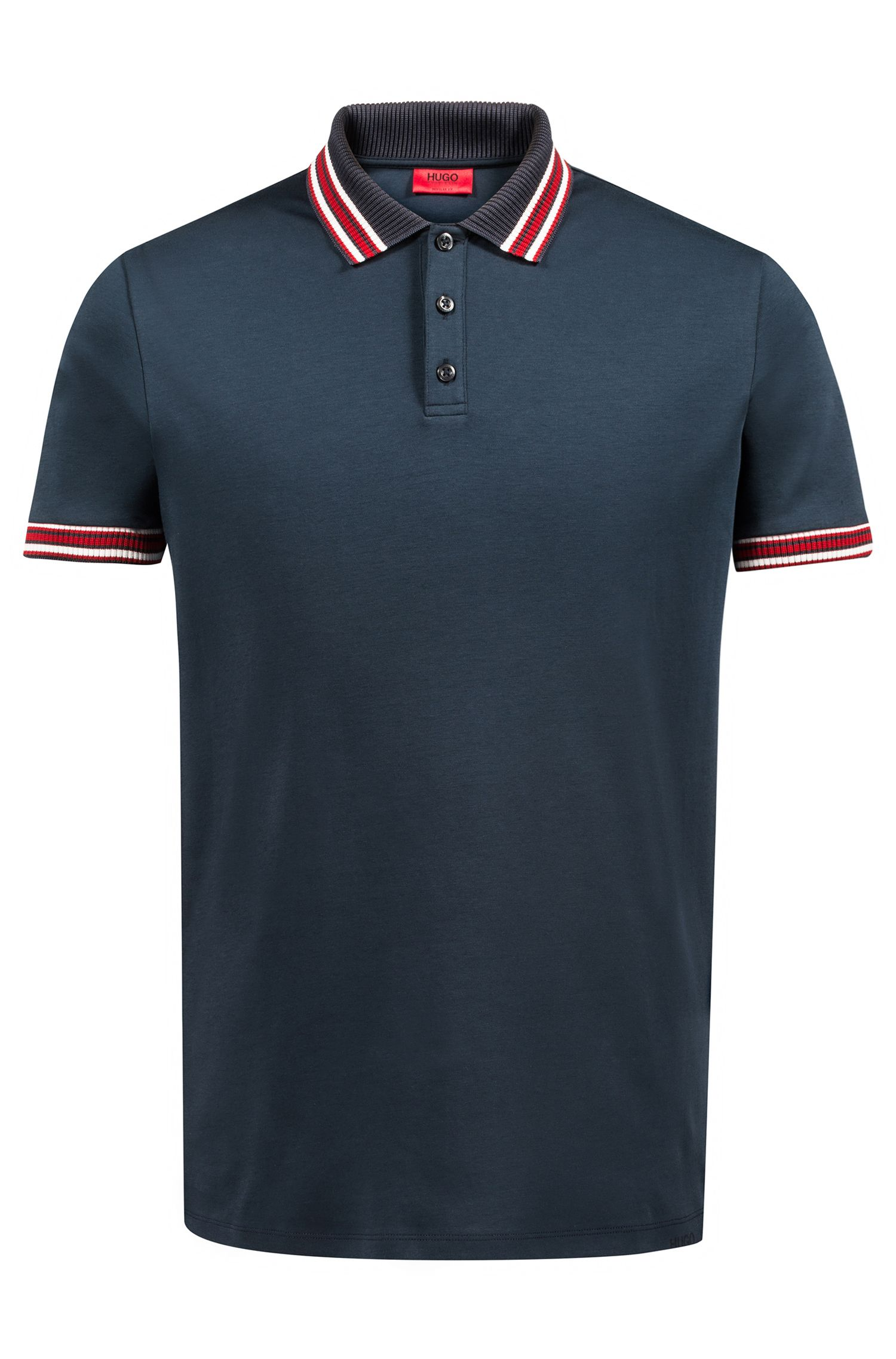 Regular-fit polo shirt in cotton with tipping stripes, Dark Blue