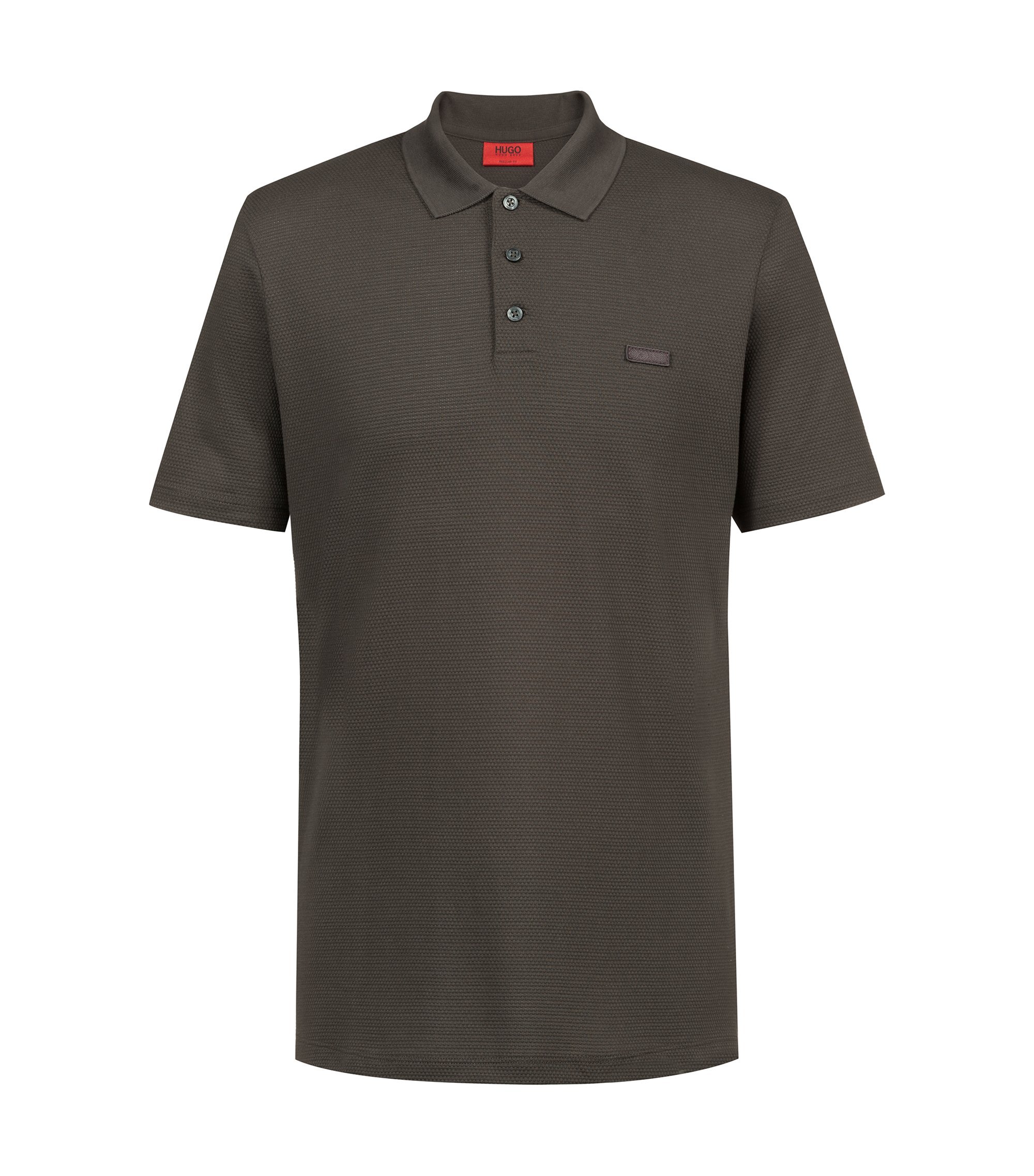 Polo regular fit in jacquard di cotone lavorato, Verde scuro