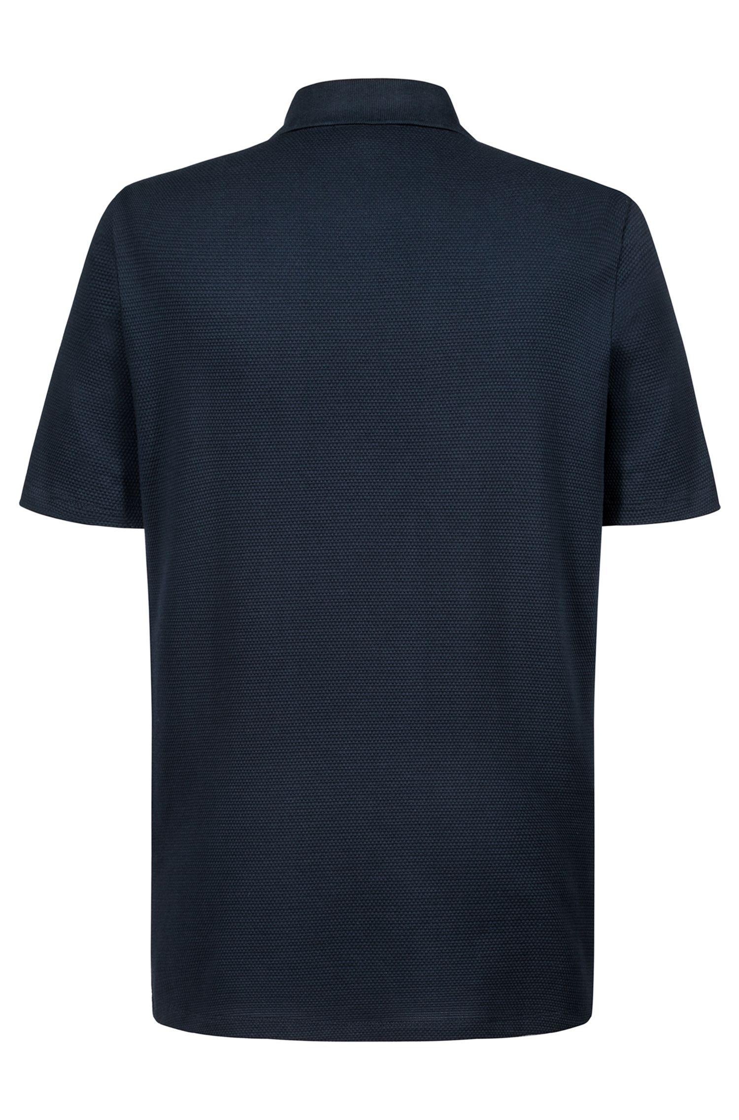 Polo regular fit en jacquard de algodón de punto, Azul oscuro