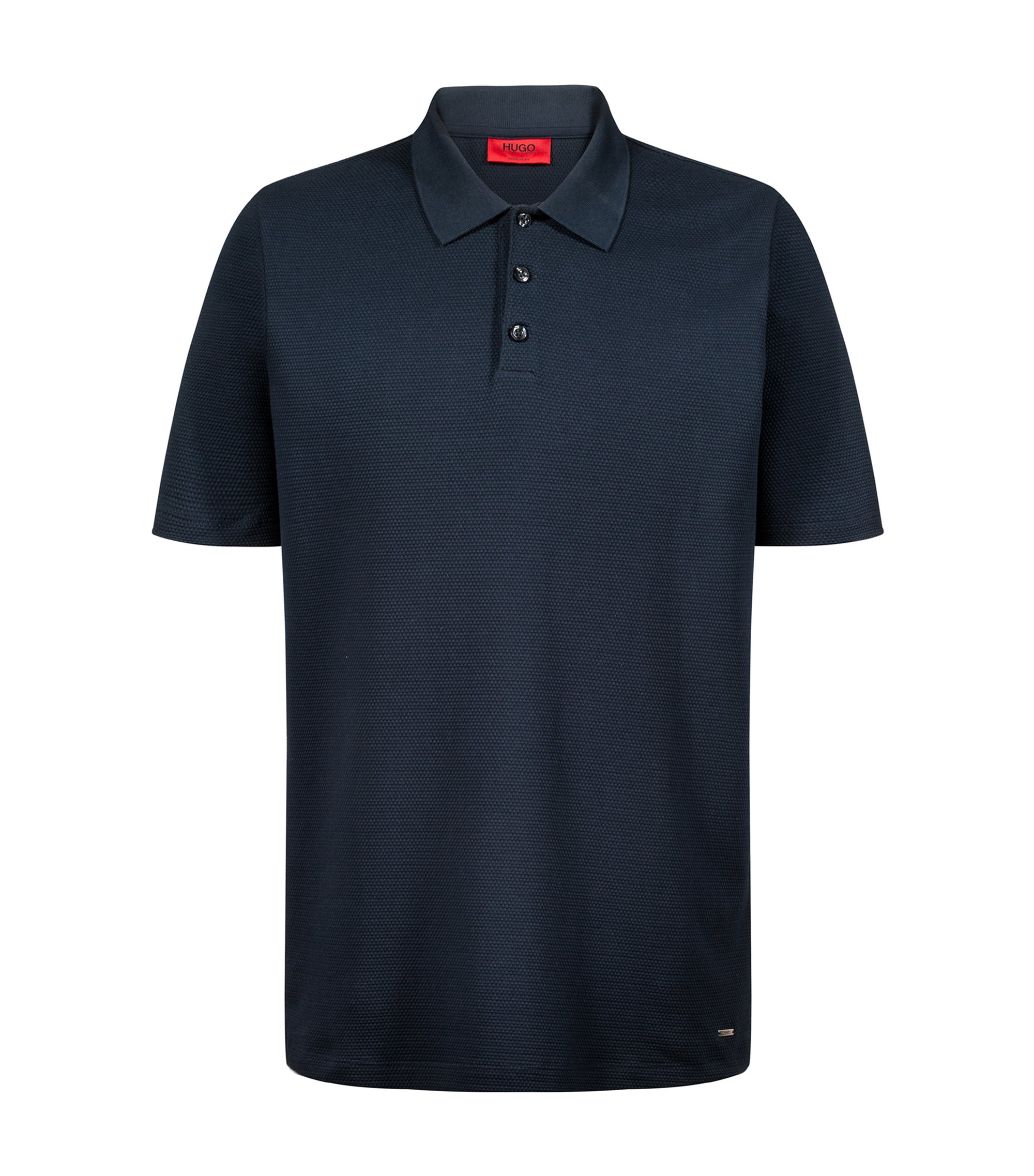 Regular-fit polo shirt in knitted cotton jacquard, Dark Blue