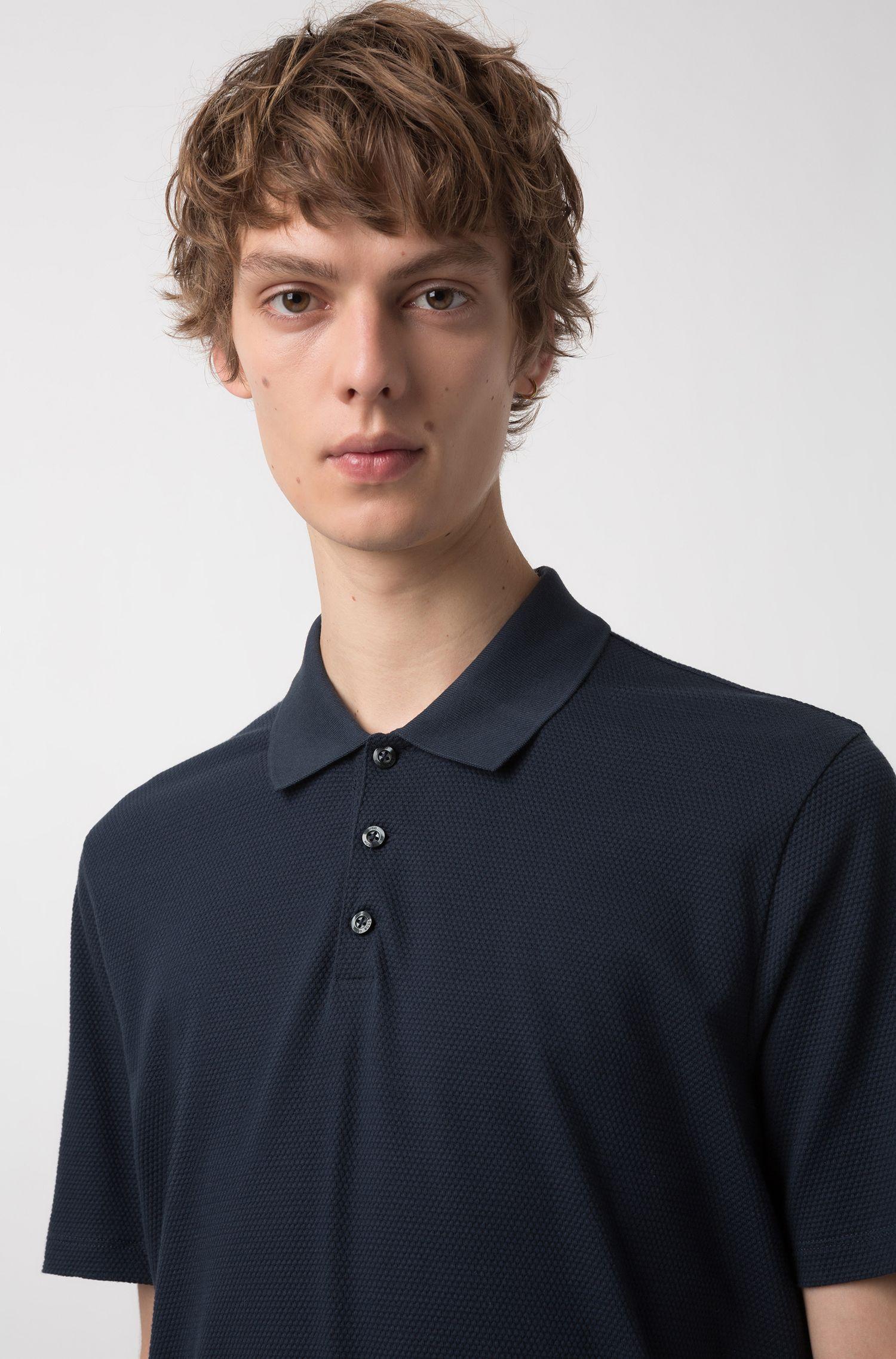 Poloshirt aus gestricktem Baumwoll-Jacquard, Dunkelblau