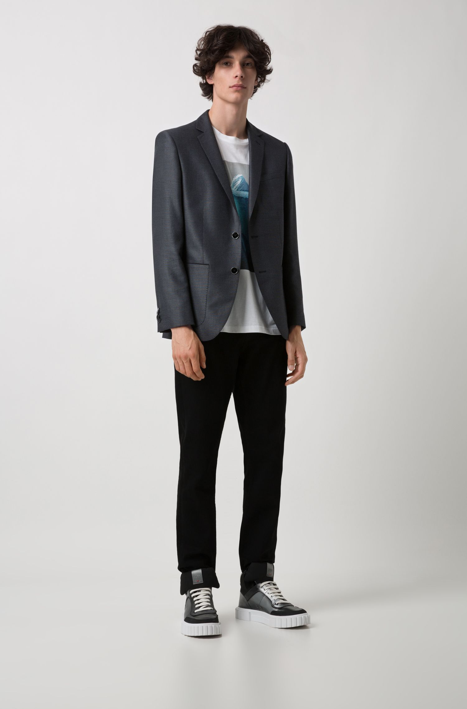 Regular-fit jacket in patterned technical fabric with linen, Anthracite
