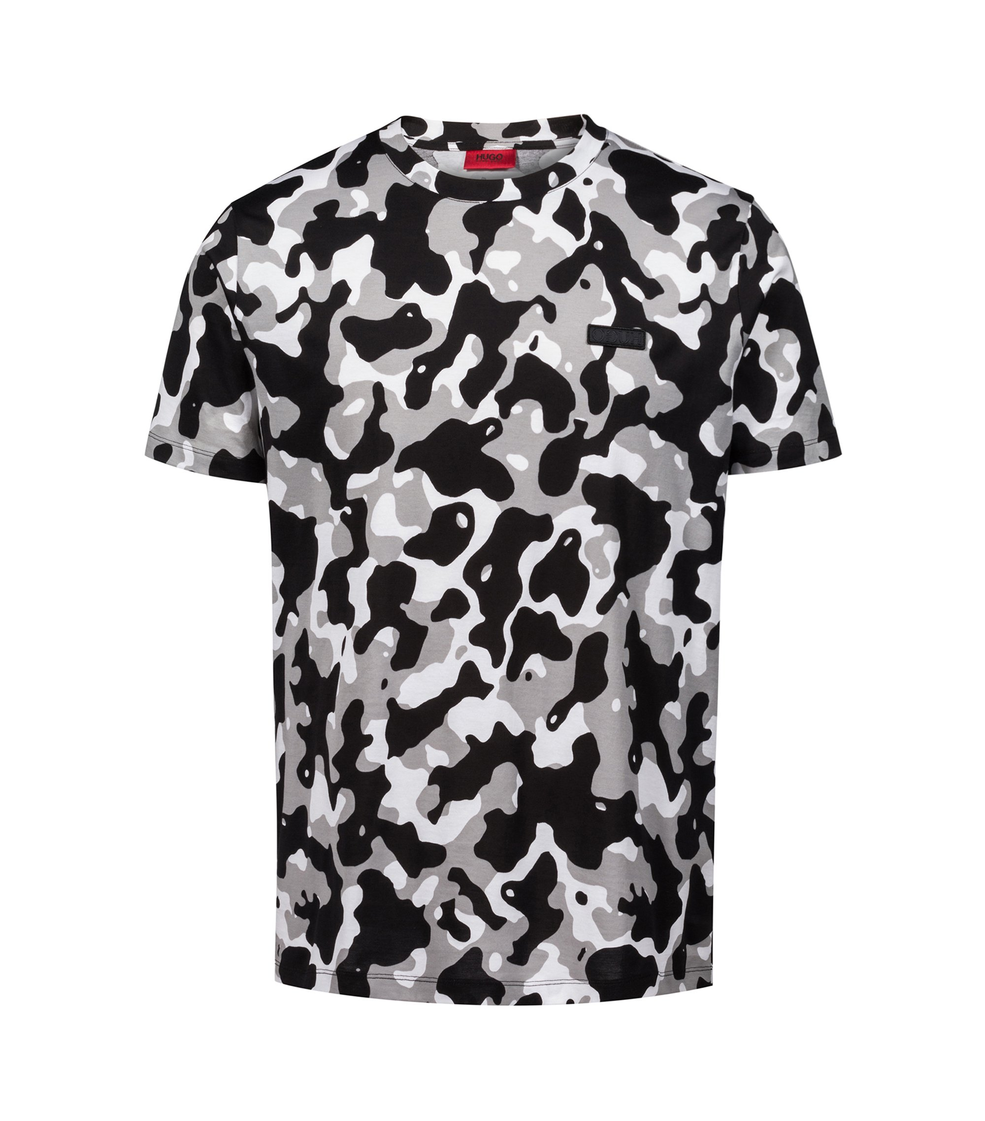 Relaxed-fit T-shirt in pure cotton with camouflage print, Patterned